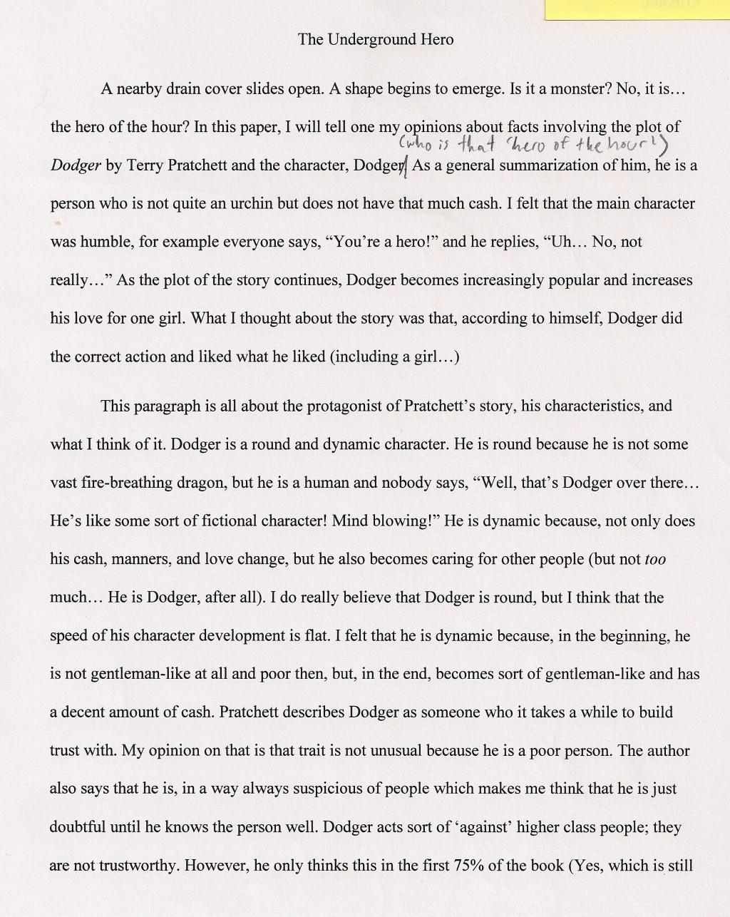001 Hero Essays The Underground Staggering Essay Examples My Michigan Superhero Large
