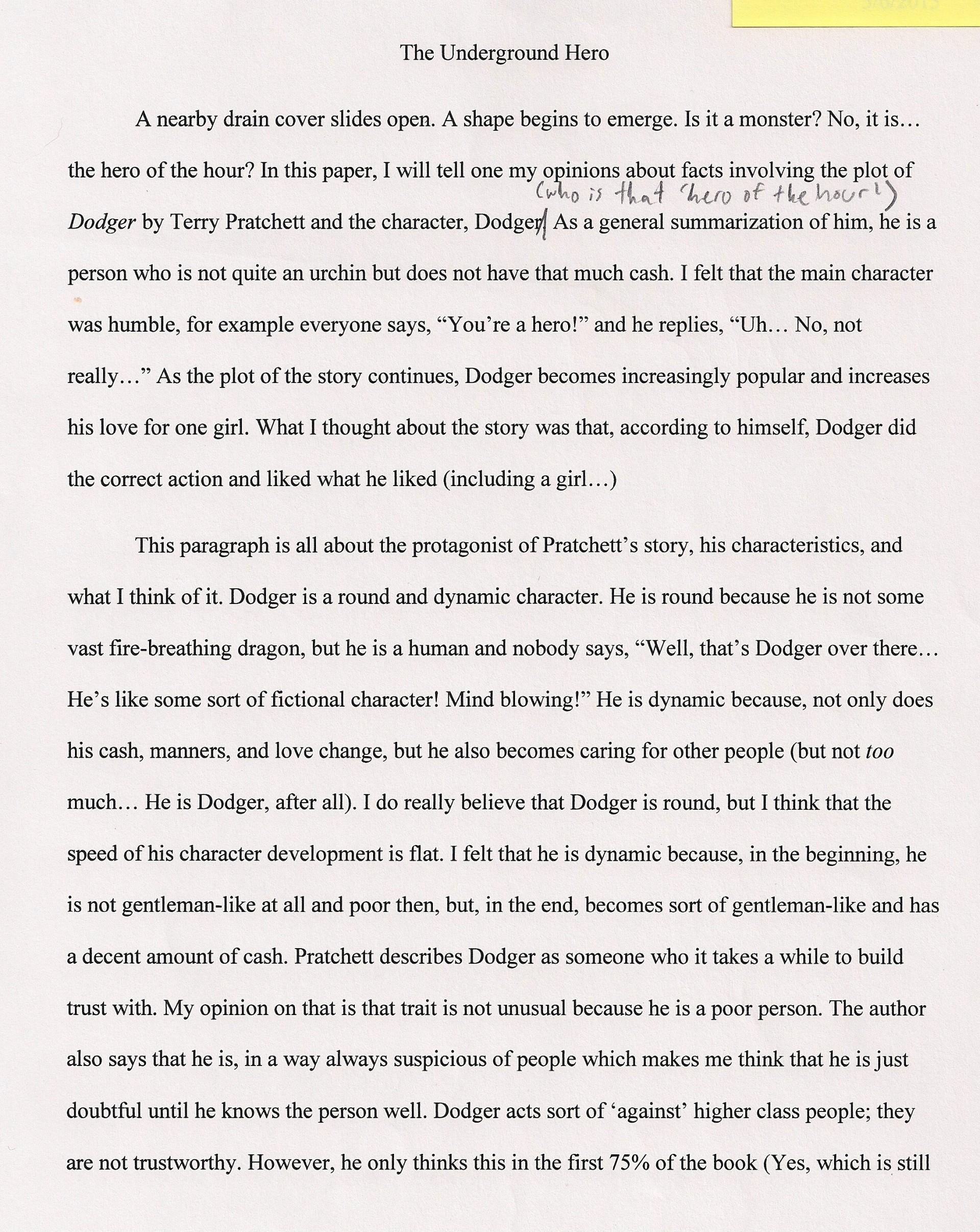 001 Hero Essays The Underground Staggering Essay Examples My Michigan Superhero 1920
