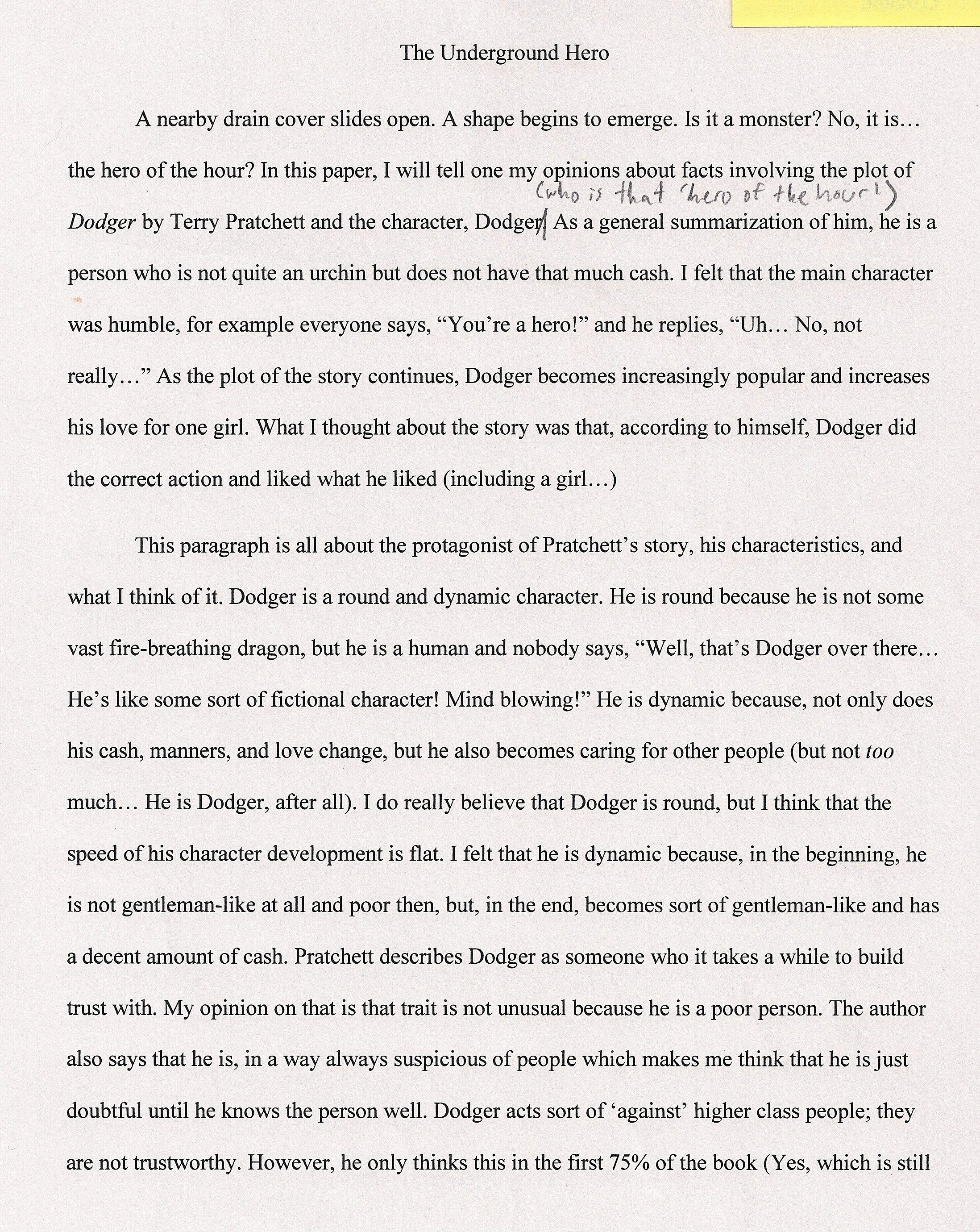 001 Hero Essays The Underground Staggering Essay Examples My Michigan Superhero Full