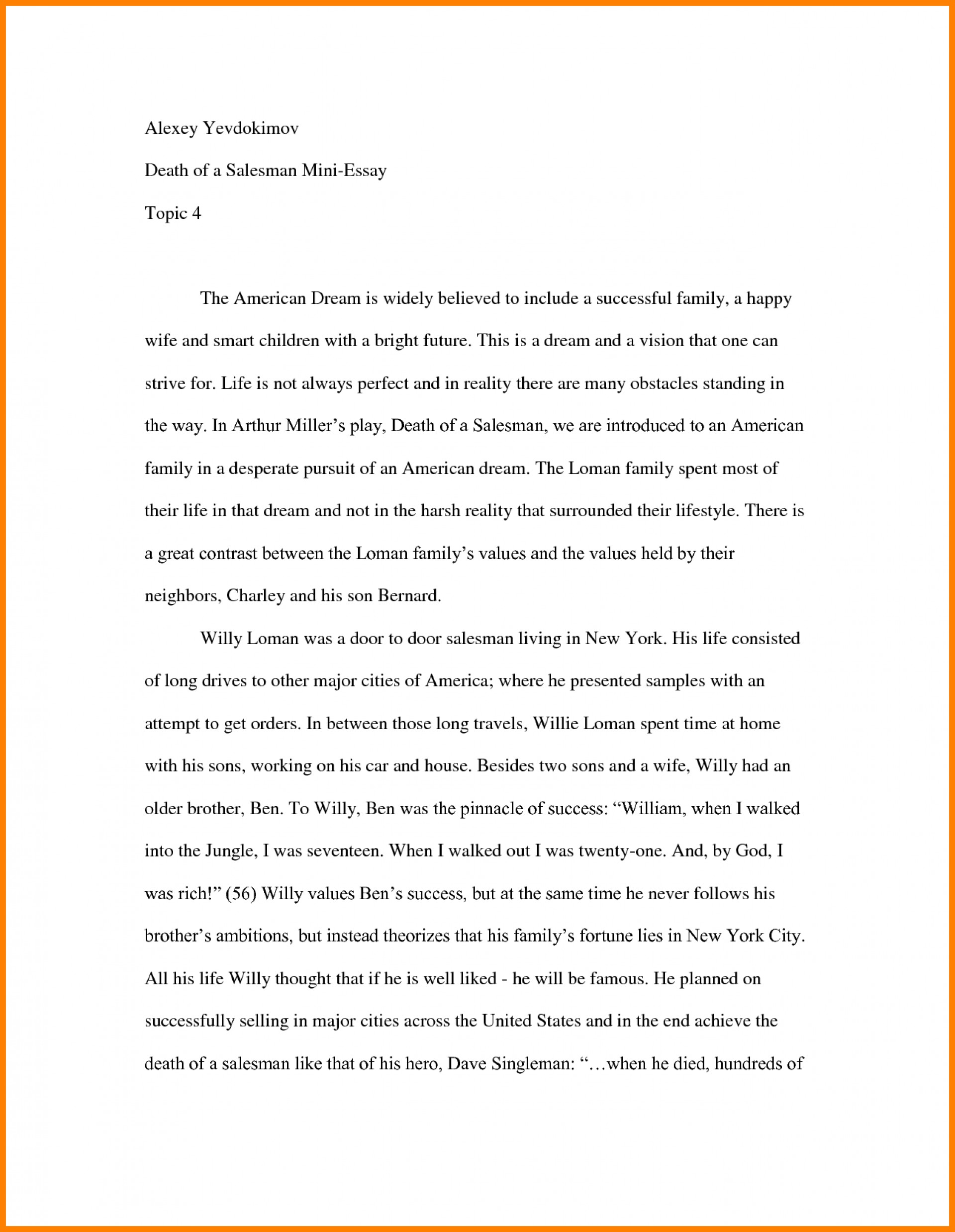 019 Essay Example How To Start Off Examples Of College About
