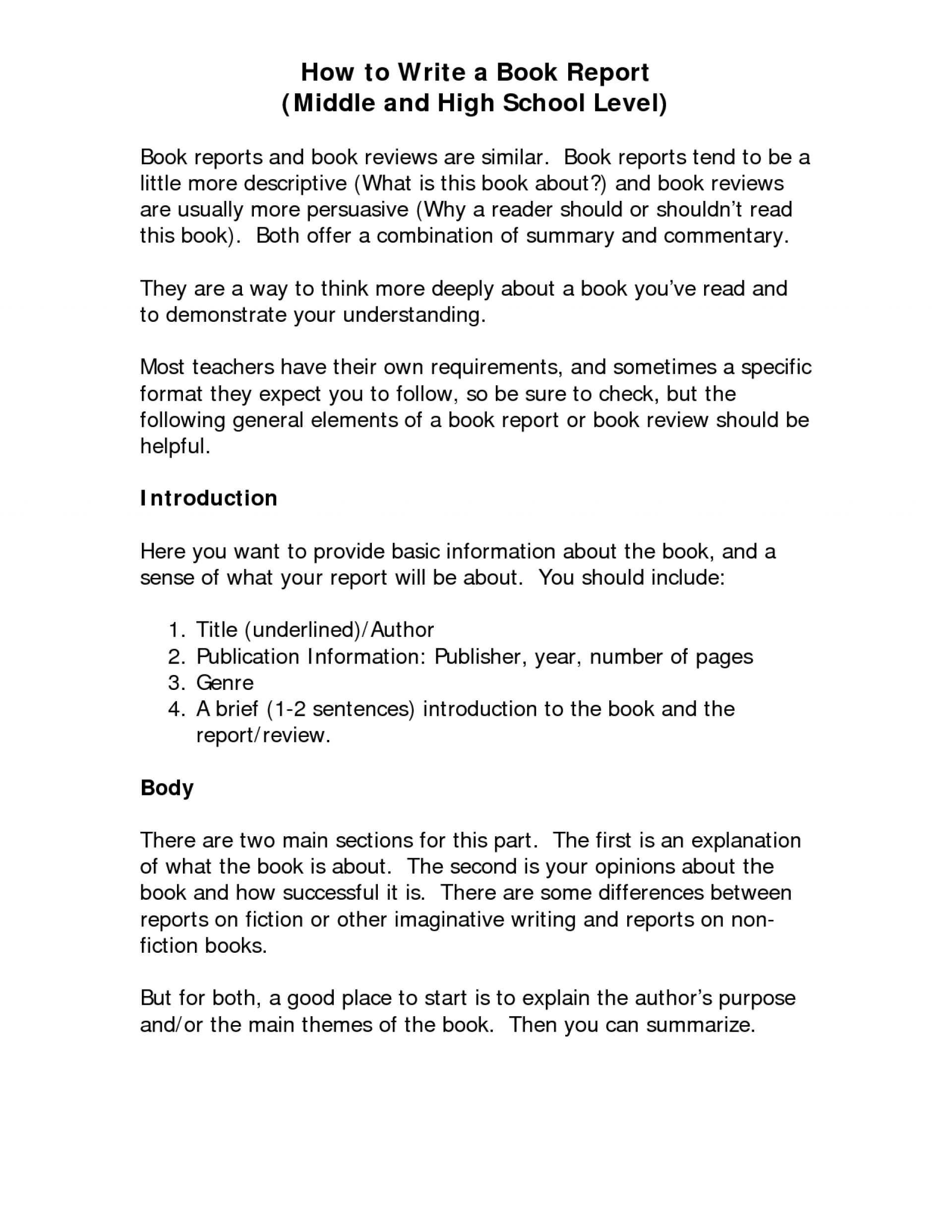 001 How To Write Book Report For High School The Canterbury
