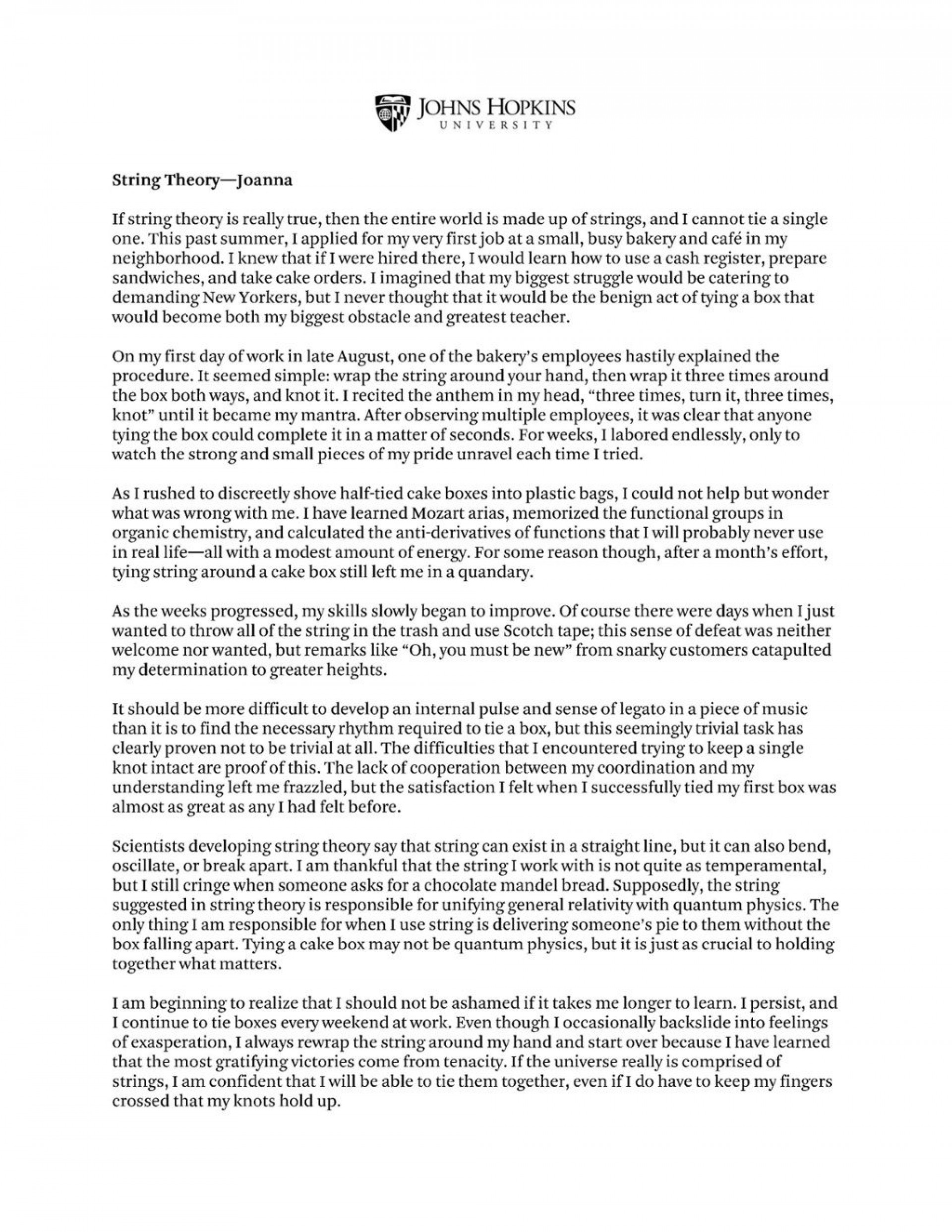 001 Jhu Essays That Worked Essay Wonderful 2019 Johns Hopkins 1920