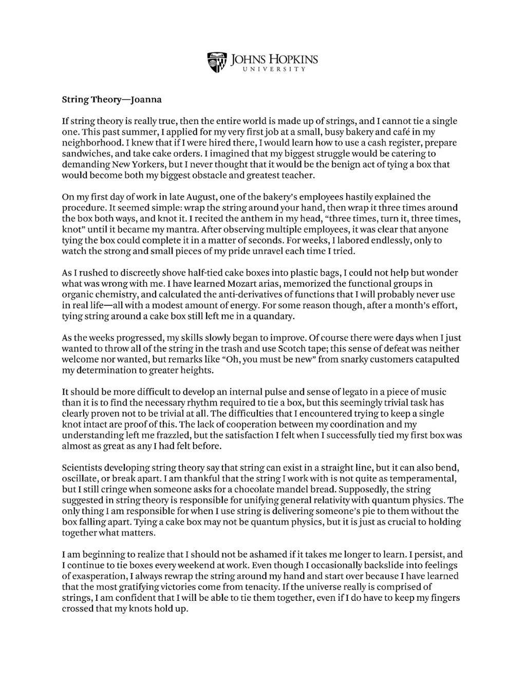 001 Jhu Essays That Worked Essay Wonderful 2019 Johns Hopkins Full