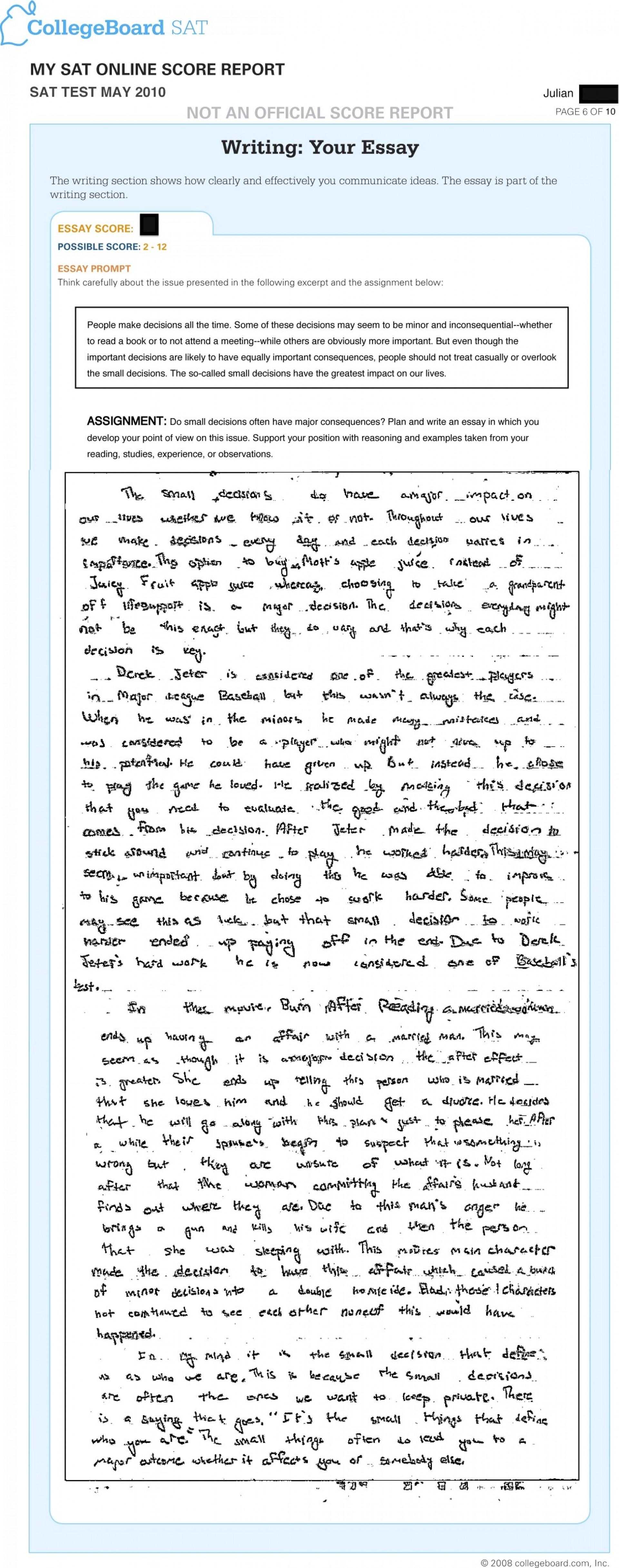 001 Jr May Sat Essay Time Dreaded Limit Breakdown 1920