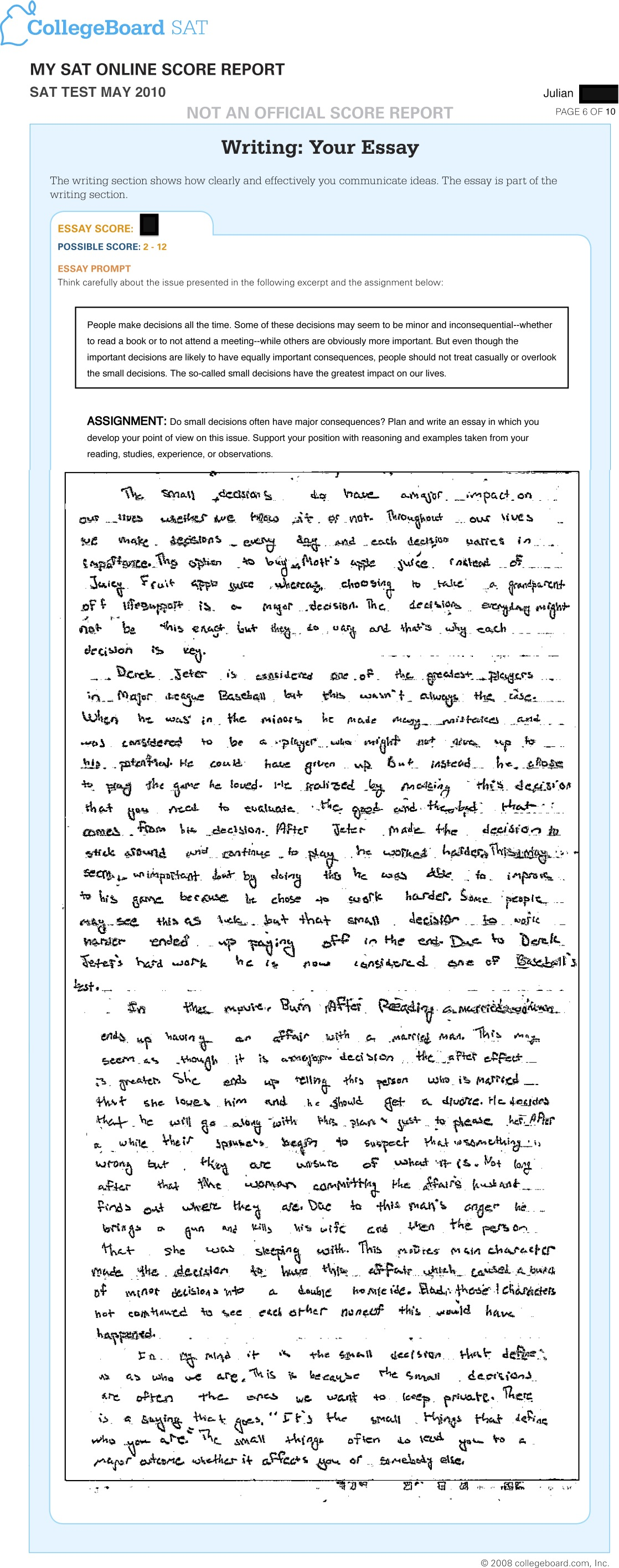001 Jr May Sat Essay Time Dreaded Limit Breakdown Full