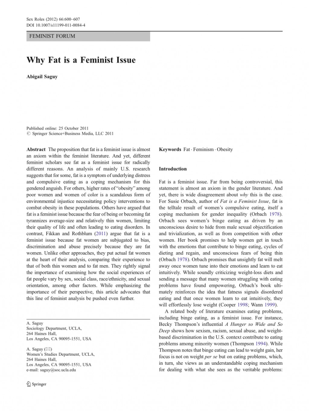001 Largepreview Fat Is Feminist Issue Essay Fearsome A Large