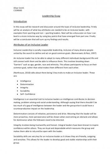 001 Leadershipessay Phpapp01 Thumbnail Leadership Essay Stirring Philosophy Conclusion Transformational Pdf Sample 360