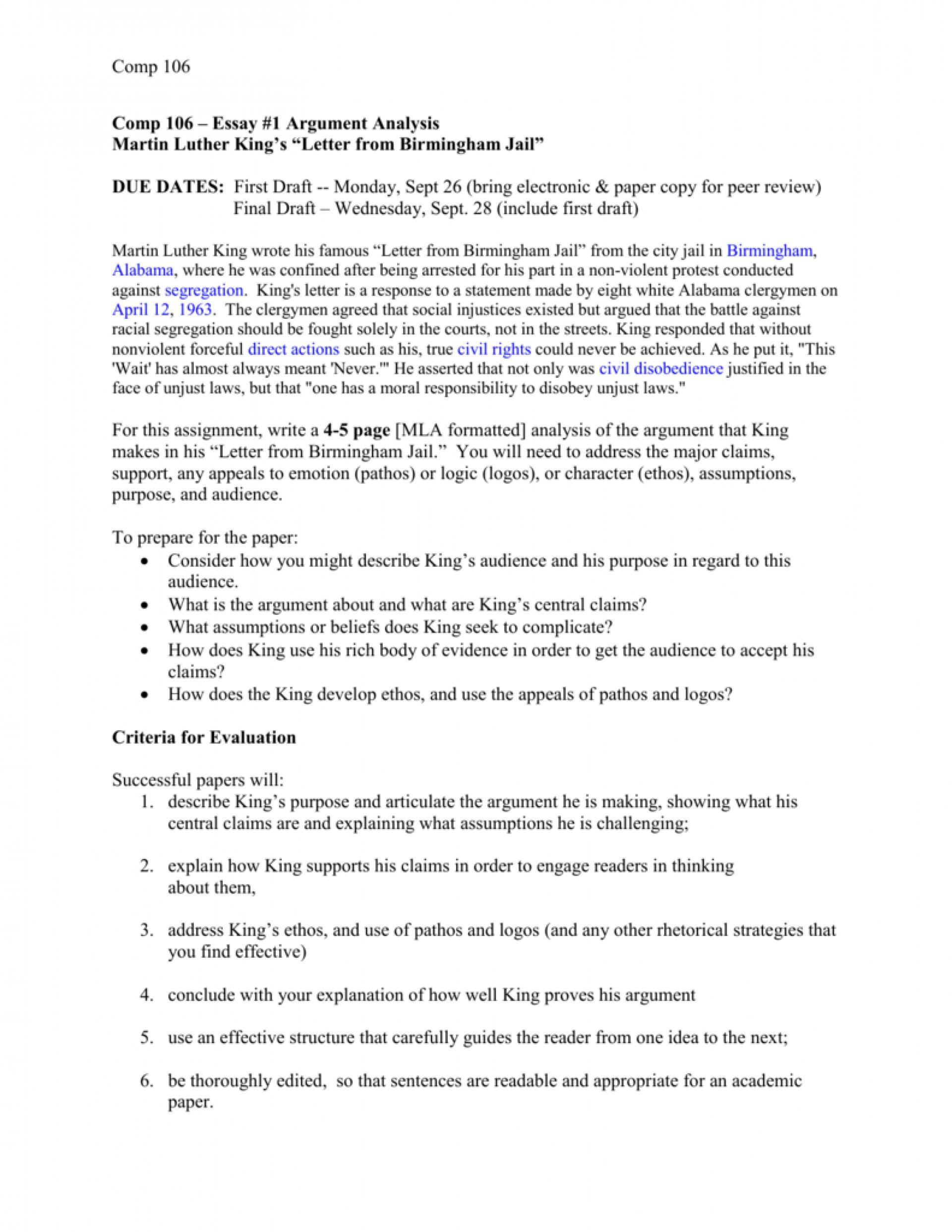 001 Letter From Birmingham Jail Ethos Pathos Logos Essay Example 008006798 1 Top 1920