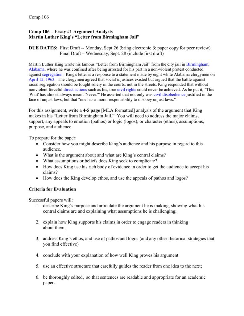 001 Letter From Birmingham Jail Ethos Pathos Logos Essay Example 008006798 1 Top Full