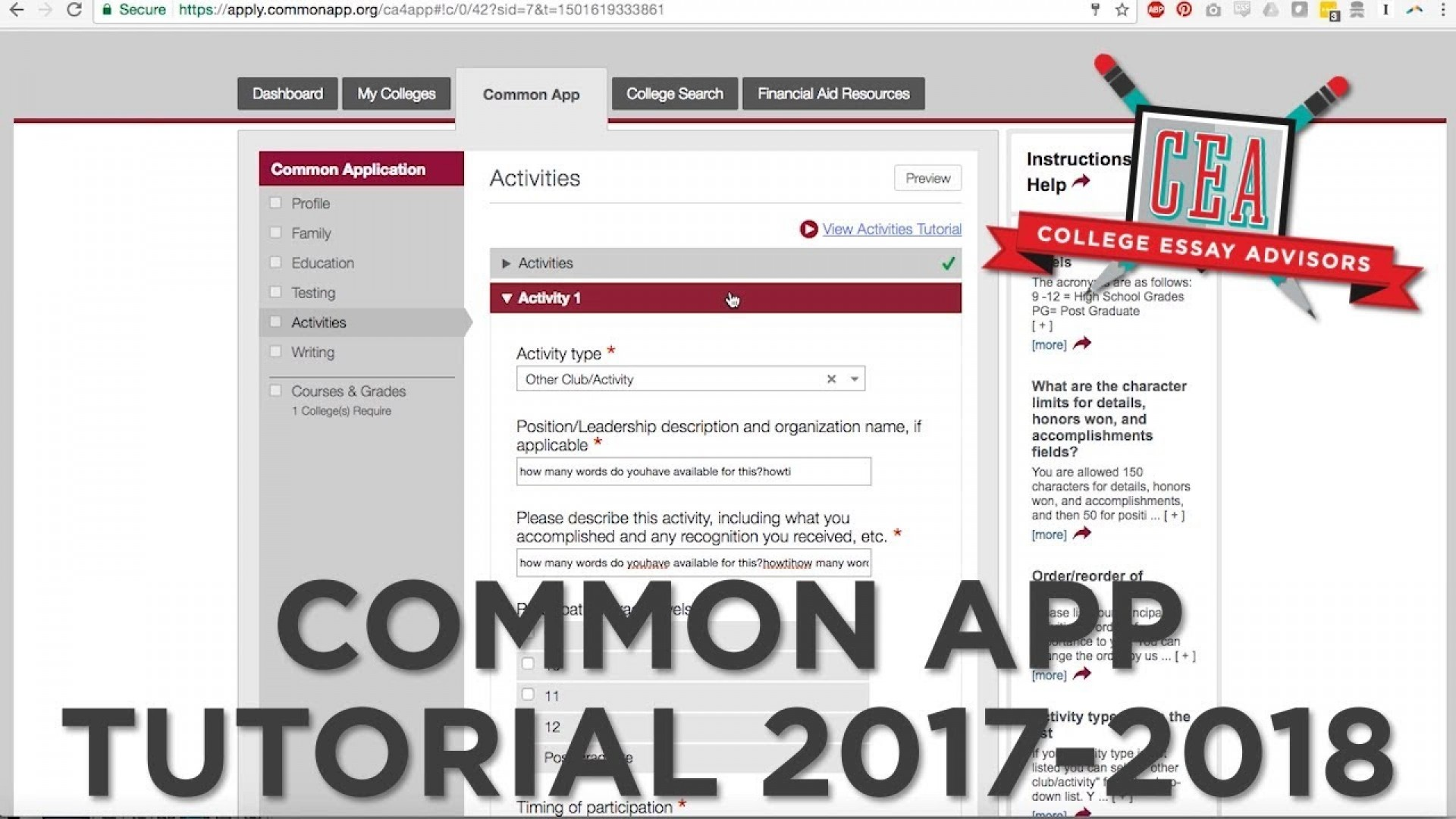 001 Maxresdefault Common App Essay Astounding 2017 18 2017-18 Questions 17-18 1920