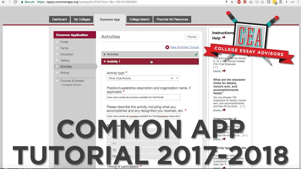 001 Maxresdefault Common App Essay Astounding 2017 18 2017-18 Questions 17-18 Full