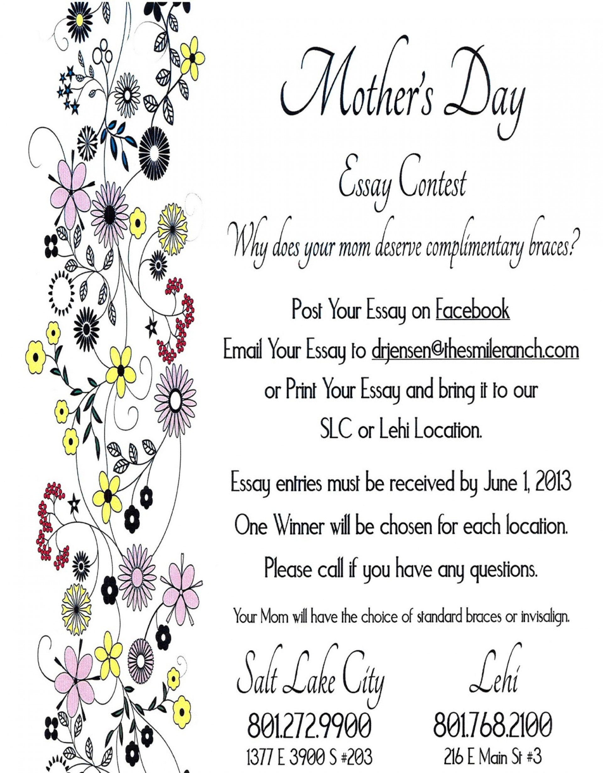 001 Mothersdaycontest Essay Example Mothers Top Day In Kannada Contest Mother's Telugu 1920