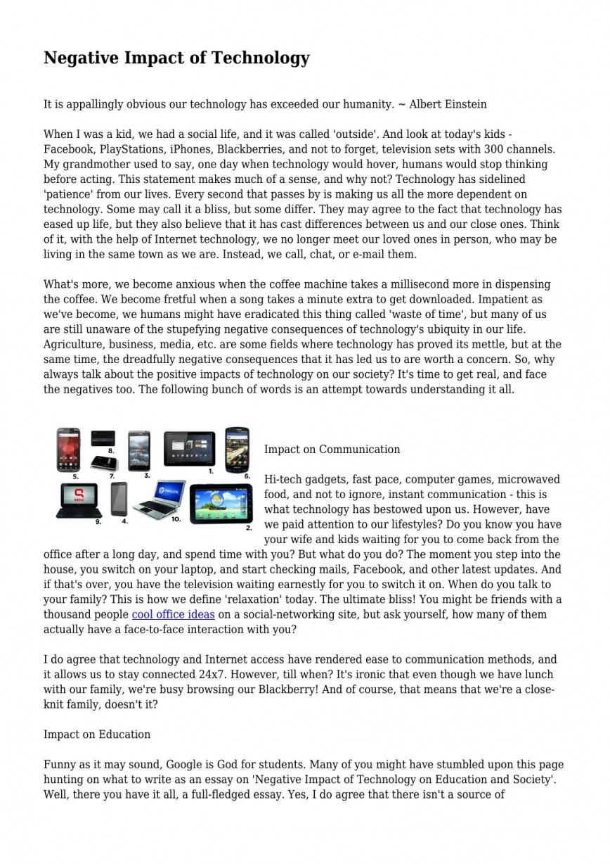 001 Negative Impact Of Technology By Lackinglunatic228 Issuu Internet On Education Essay P Example Unbelievable Effects Short Positive And