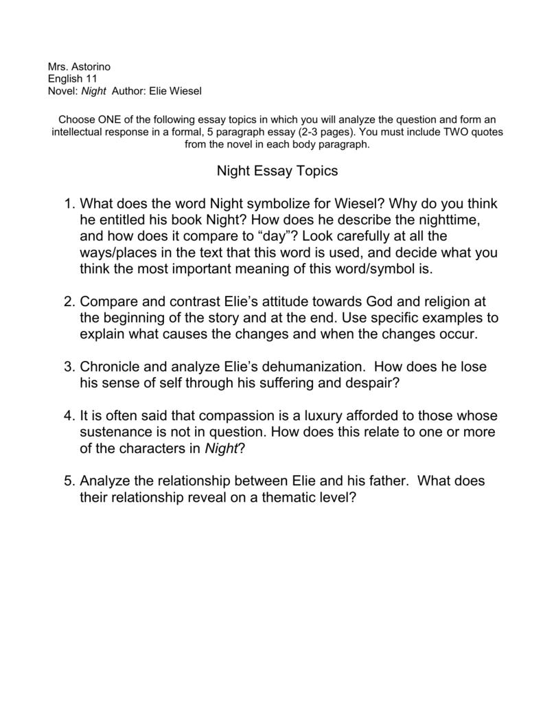 001 Night Essay 008045703 1 Excellent Questions Topics Dehumanization Conclusion Full