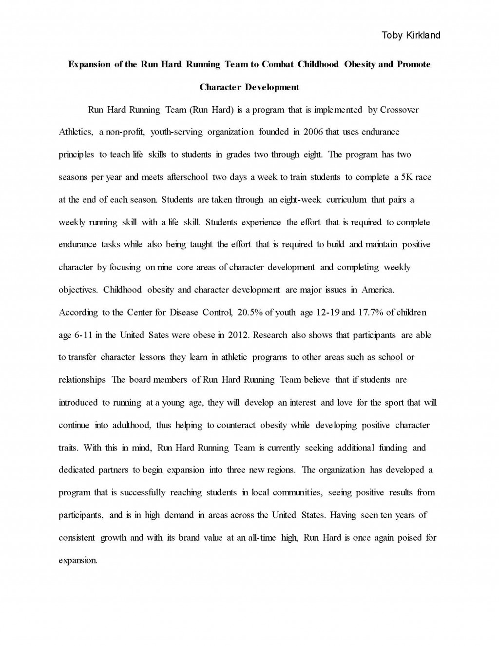 001 Obesity Essay Toby Kirkland Final Grant Proposal Page 01 Wondrous Paper Topics Childhood Hook Examples Large