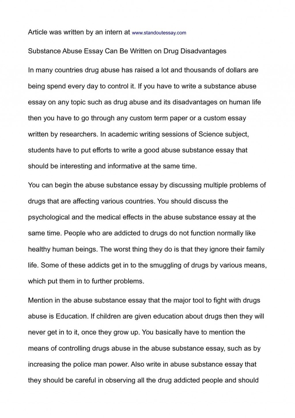 001 P1 Essay About Drugs Impressive Effects 200 Words Sample Tagalog Large