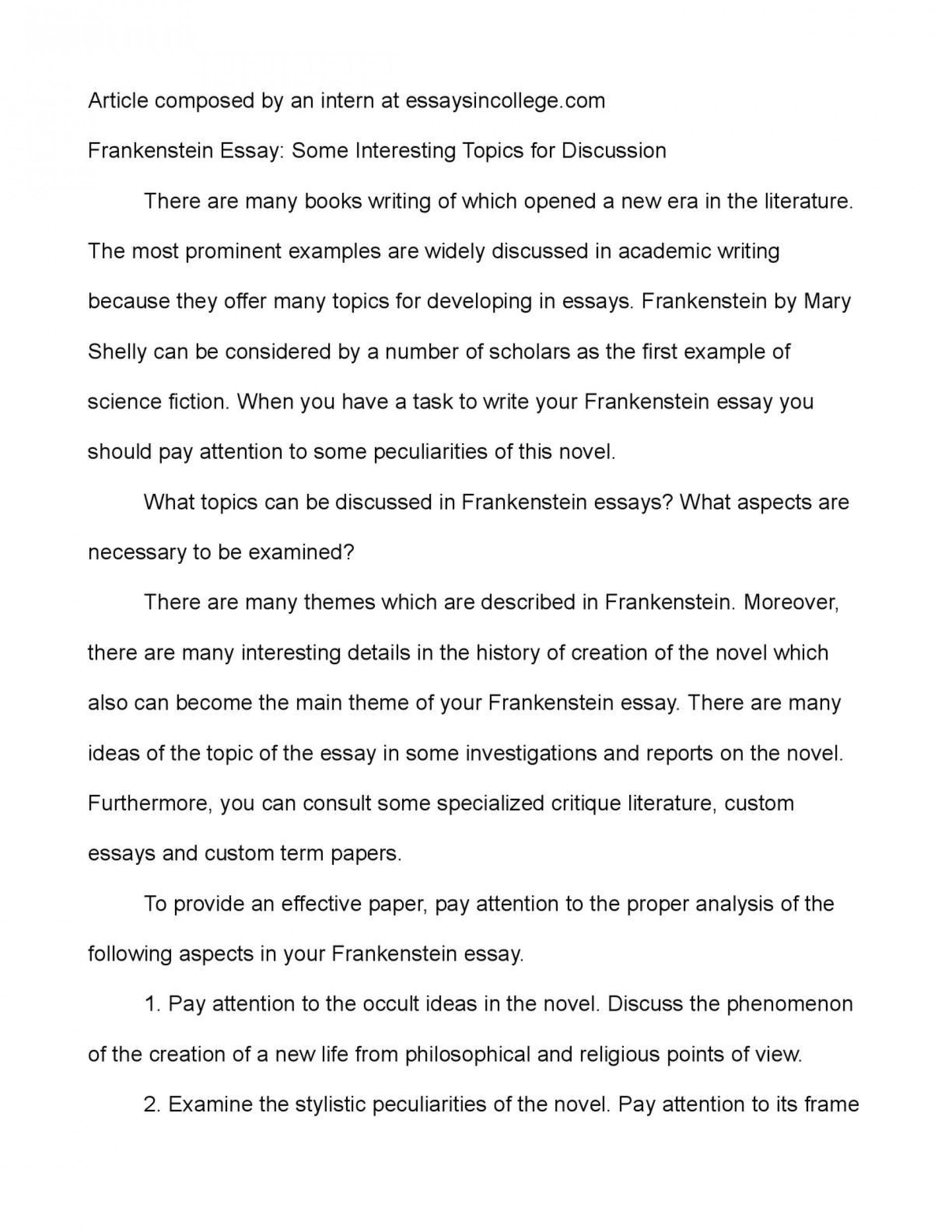 001 P1 Essay Example Frankenstein Staggering Topics Topic Sentence Argumentative 1920