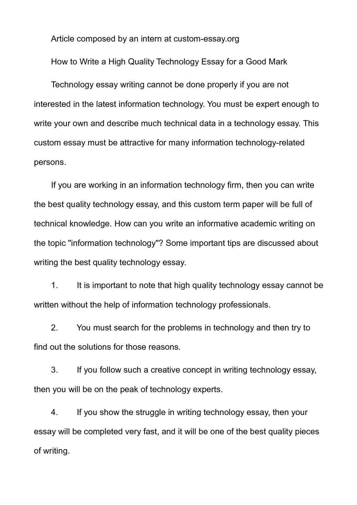001 P1 Technology Essay Top Science And Questions Florida Institute Of Prompts Full