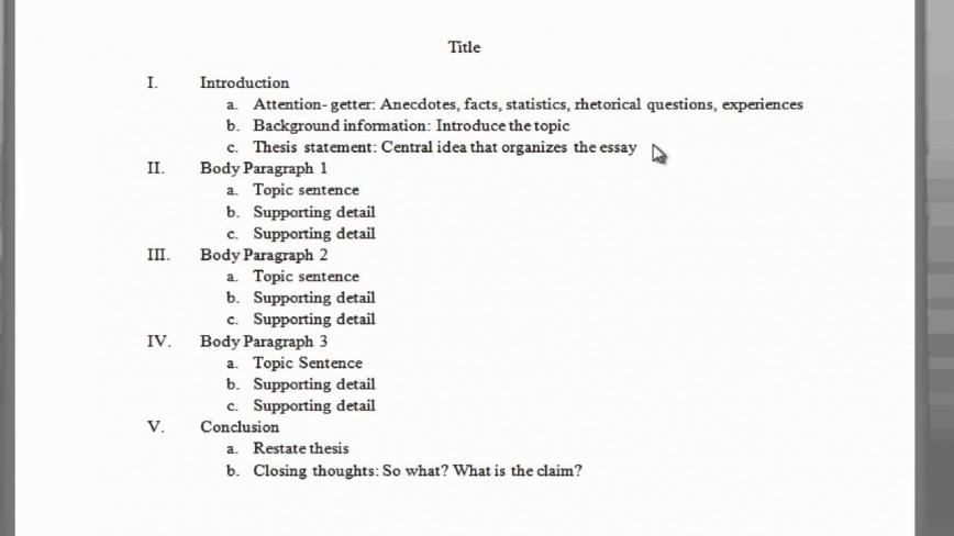 001 Paragraph Essay Outline Example Impressive 5 Five Template Pdf Argumentative 868