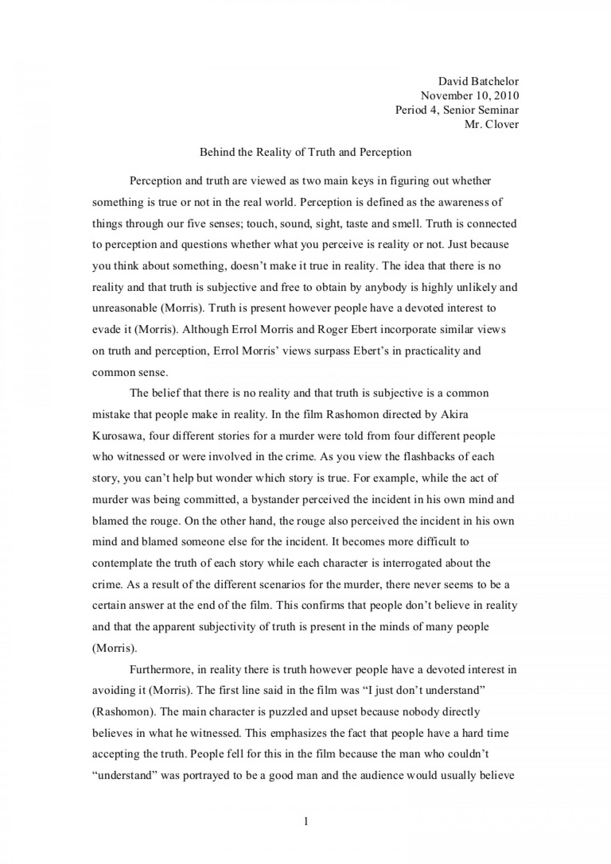 001 Perception Essay Truthperceptionessay Phpapp01 Thumbnail Formidable Questions Vs Reality Topics Sensation And 1920