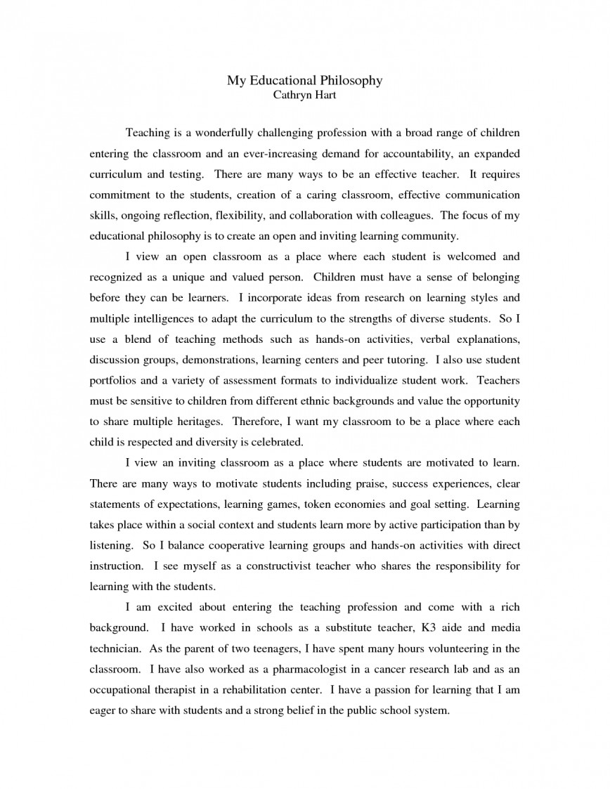 001 Philosophy Of Education Essay Example On L Incredible Examples Gcu My Personal Teaching And Learning Pdf
