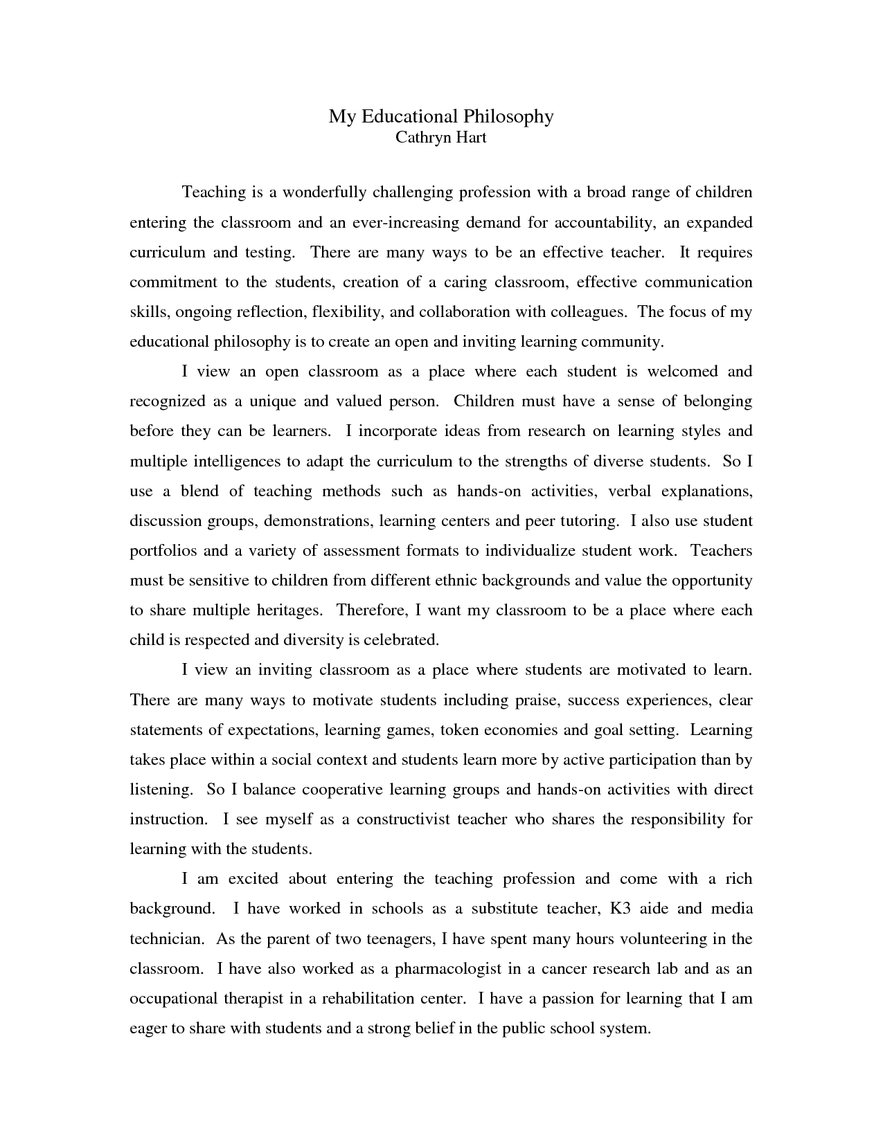 001 Philosophy Of Education Essay Example On L Incredible Samples Gcu Conclusion Full