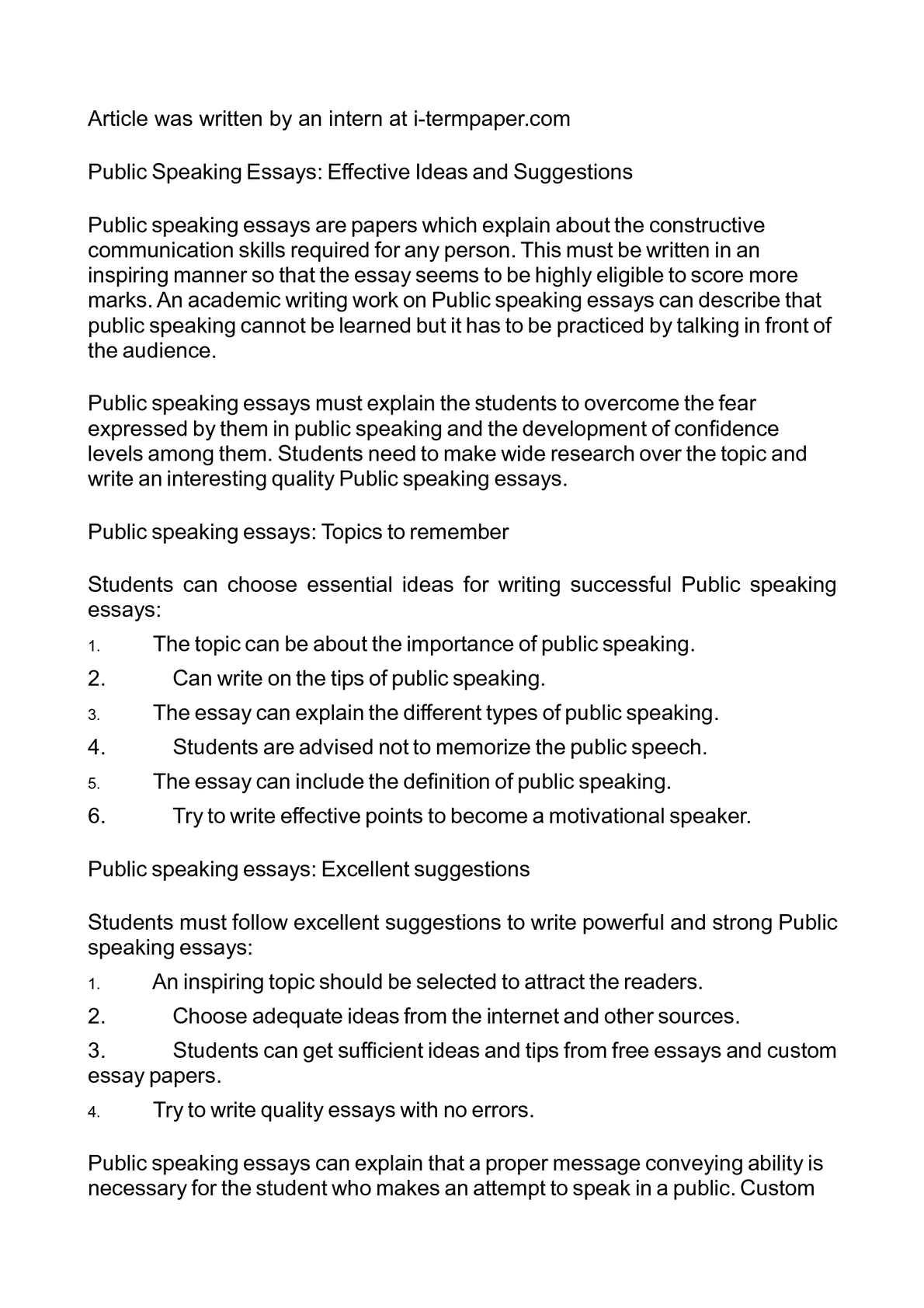 001 Public Speaking Essay P1 Stunning Topics Example Introduction Full