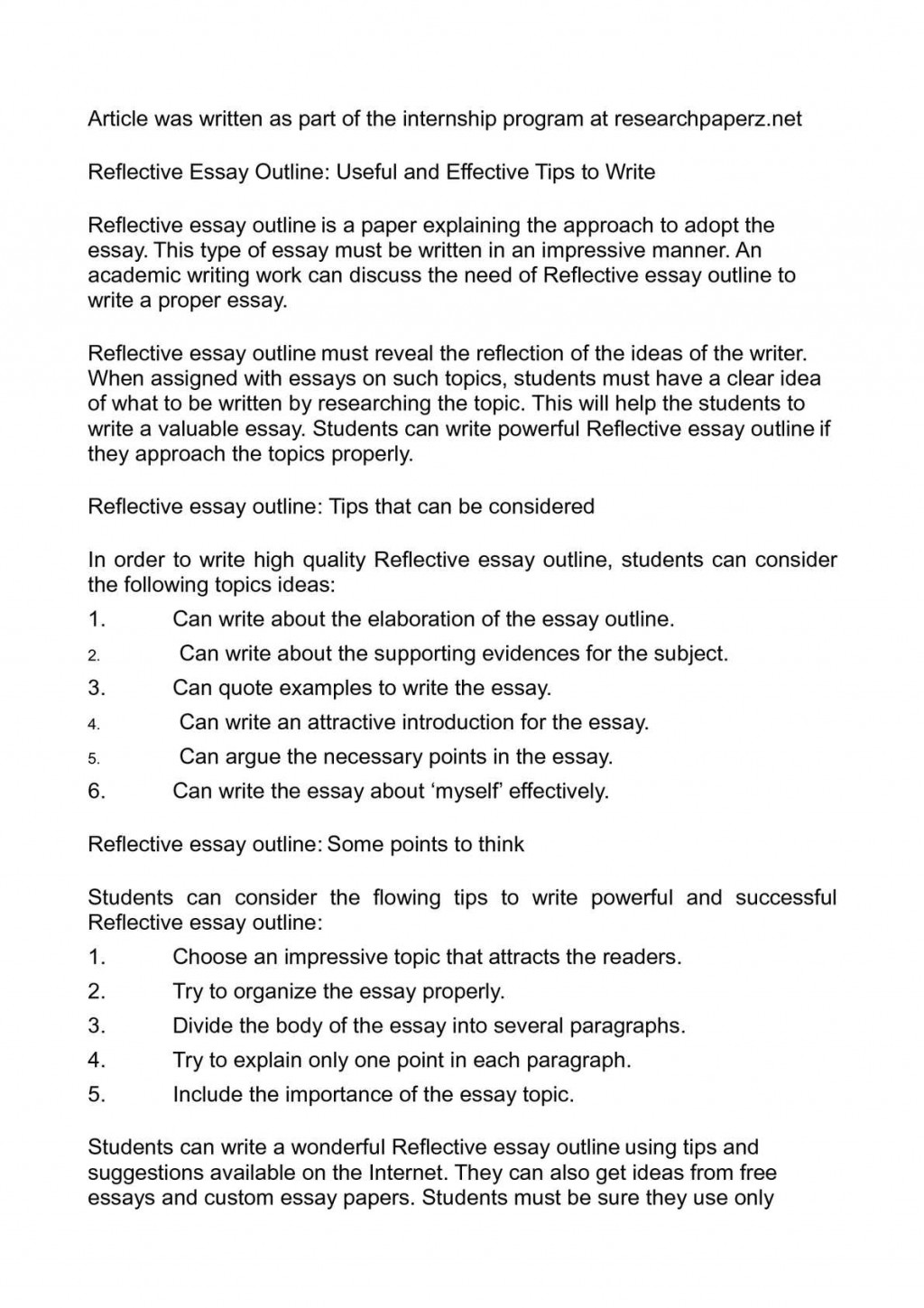 001 Reflective Essay Outline Useful And Effective Tips To Wri On Critical Reading Writing Magnificent Narrative Pdf Large