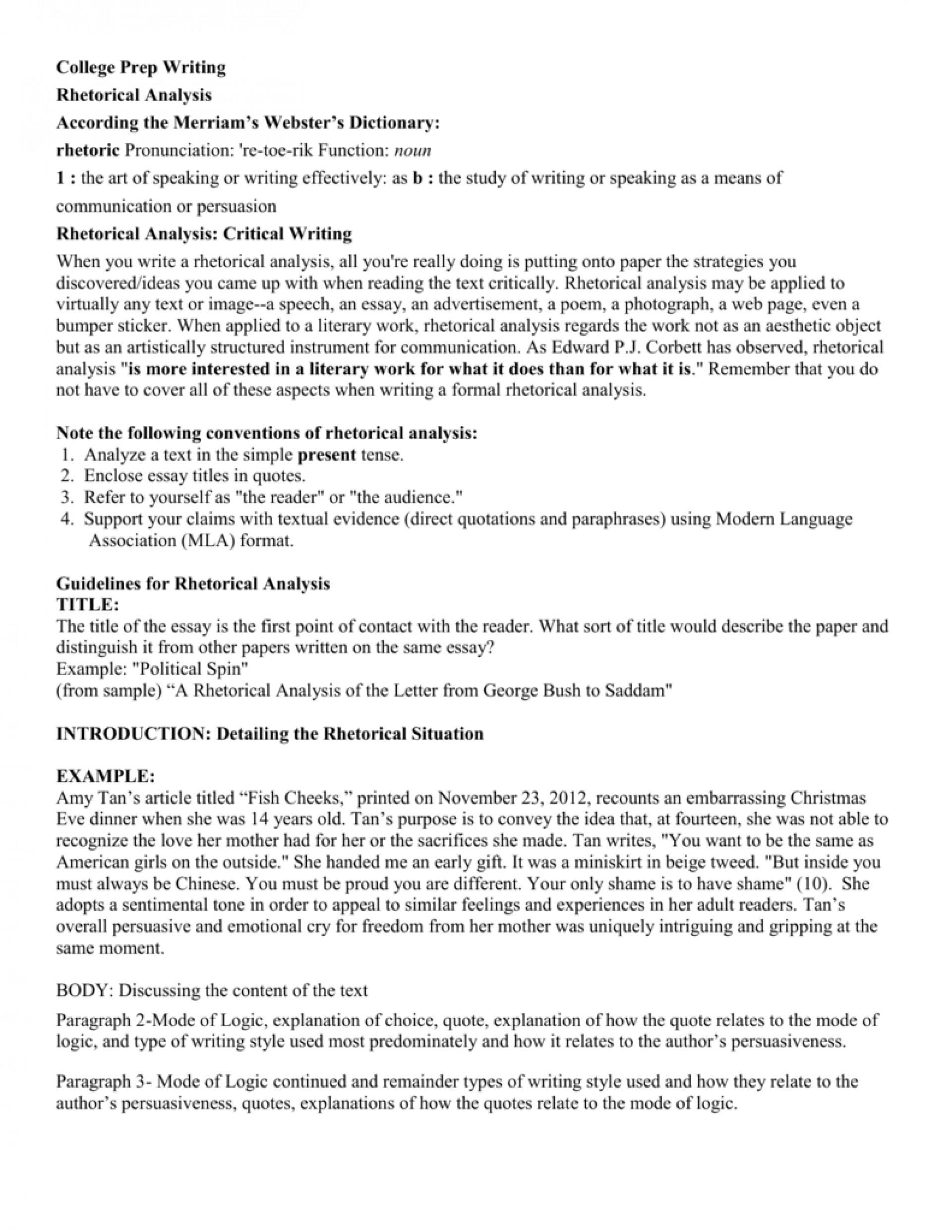 001 Rhetorical Situation Example Essay 007662368 2 Imposing 1920