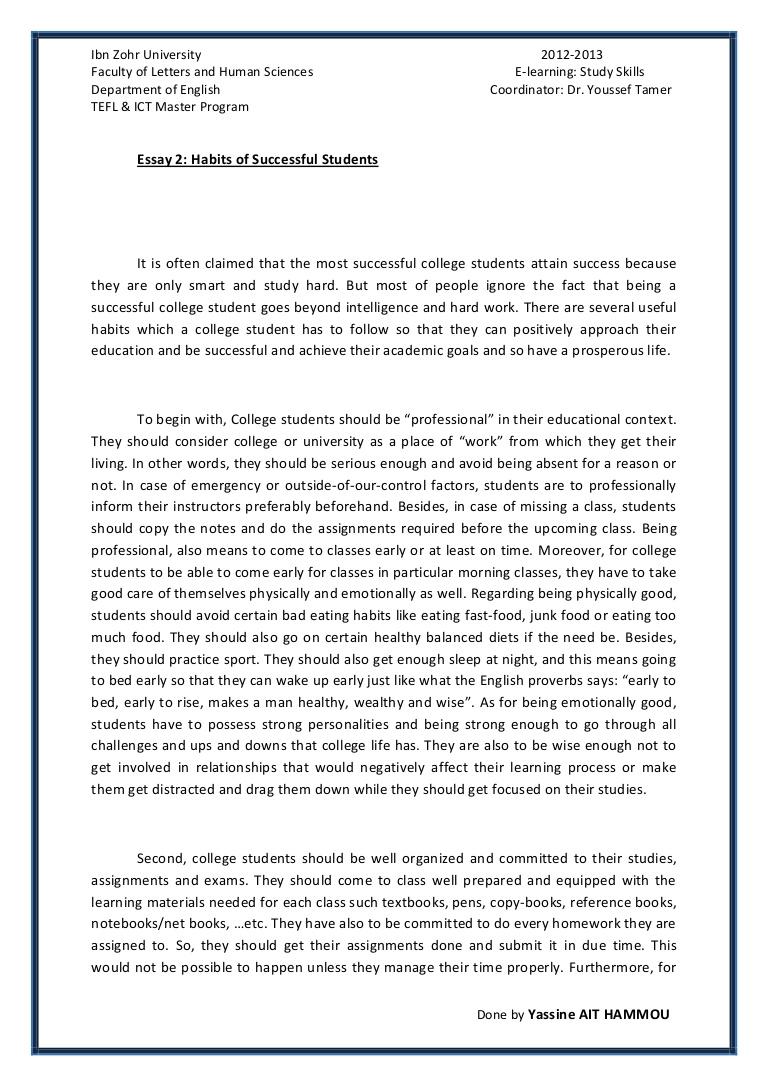 001 Short Essay On Learning Essay2 Succesfulcollegestudentshabitsbyyassineaithammou Phpapp01 Thumbnail Exceptional E In Odia Hindi Full