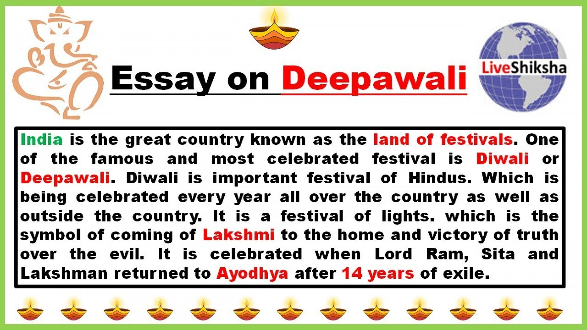 001 Simple Essay On Diwali Example Striking For Class 1 My Favourite Festival 1920