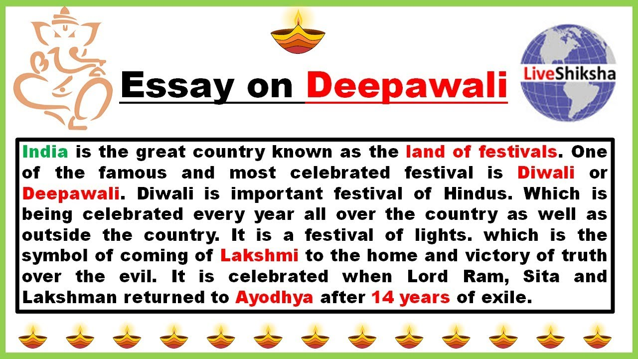 001 Simple Essay On Diwali Example Striking For Class 1 My Favourite Festival Full