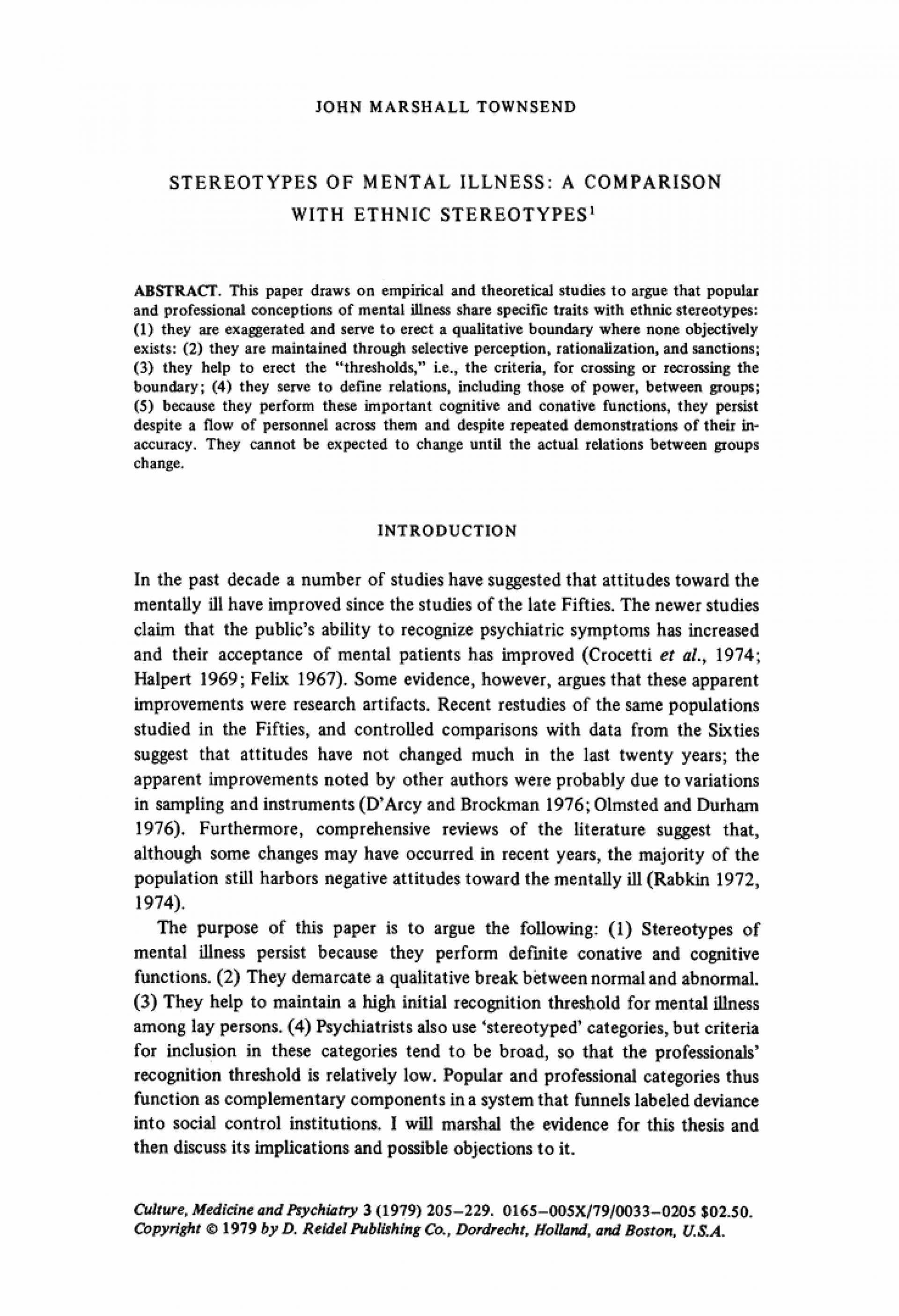 001 Stereotypes Of Mental Illness Comparison With Ethnic Springer Stereotype Essay L Unique Hook Conclusion 1920