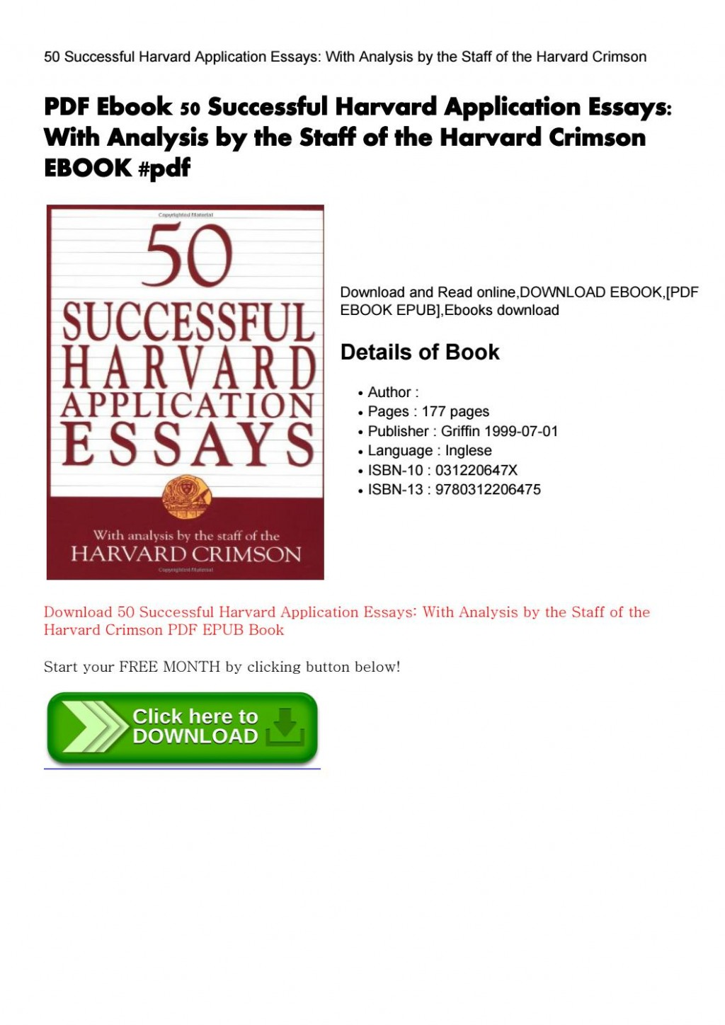 001 Successful Harvard Application Essays Pdf Page 1 Essay Impressive 50 Free 4th Edition Download Large