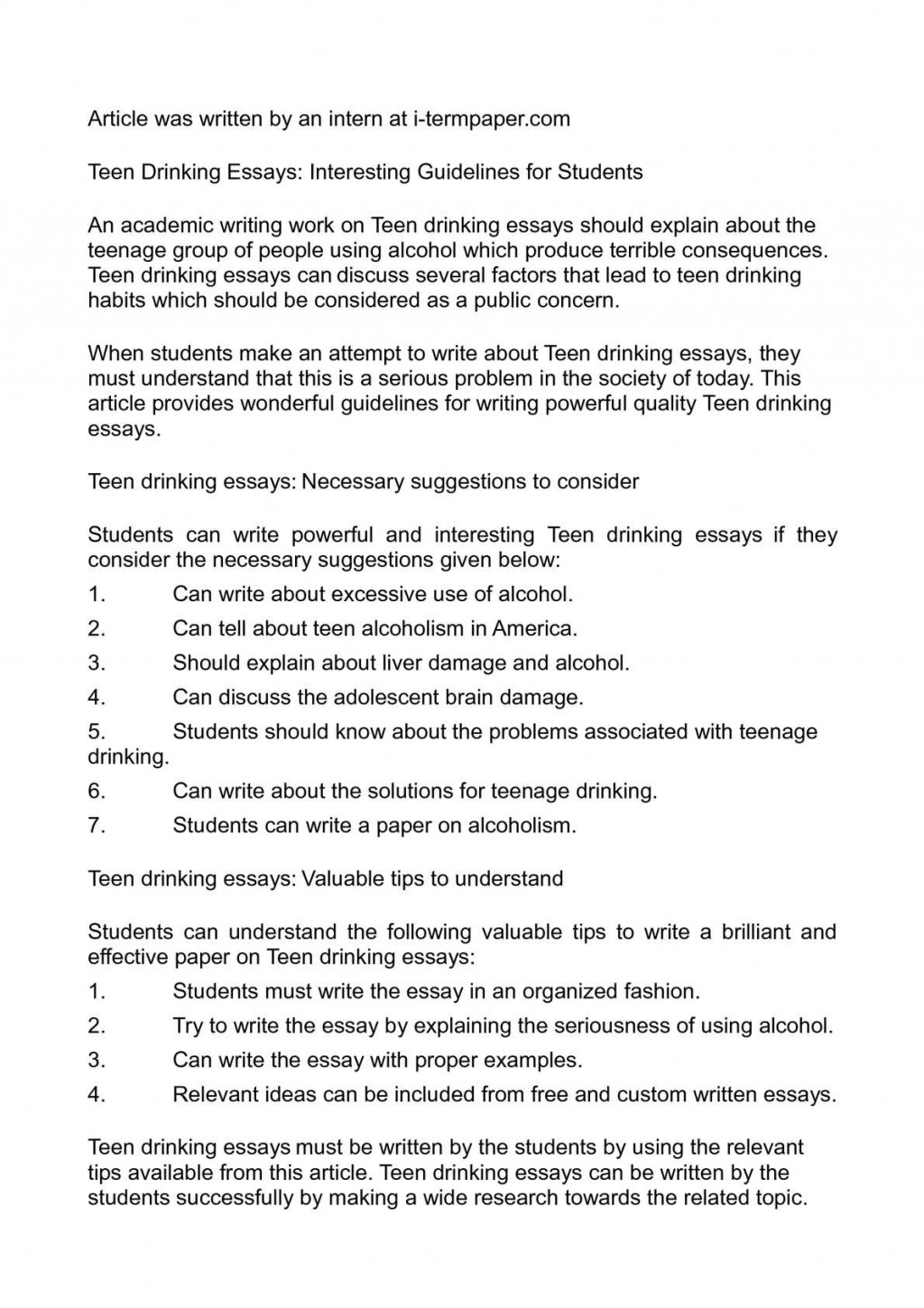 001 Teenage Drinking Essay Example Singular Smoking And Conclusion Large