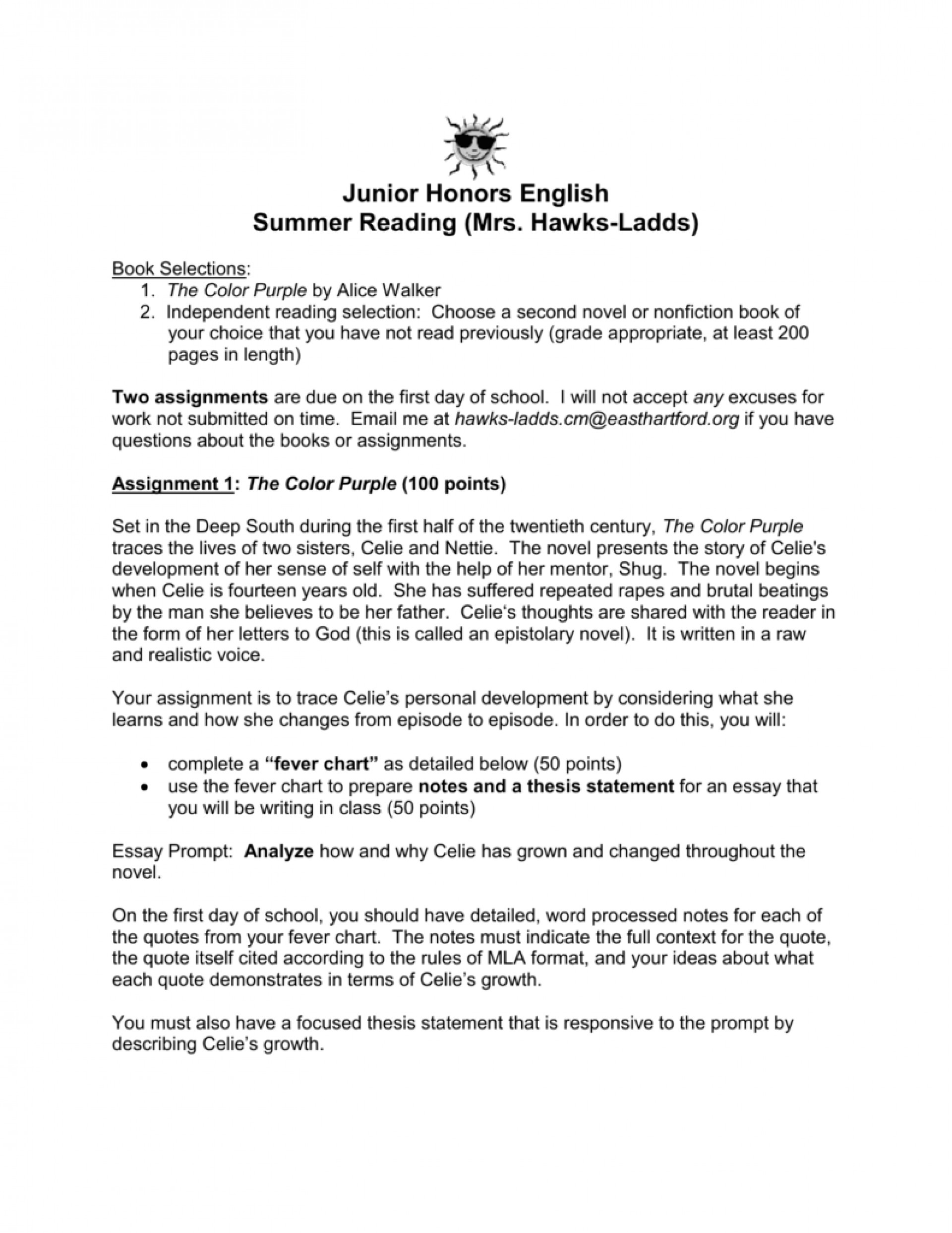 001 The Color Purple Essay 009259708 1 Impressive Research Paper Outline Introduction 1920