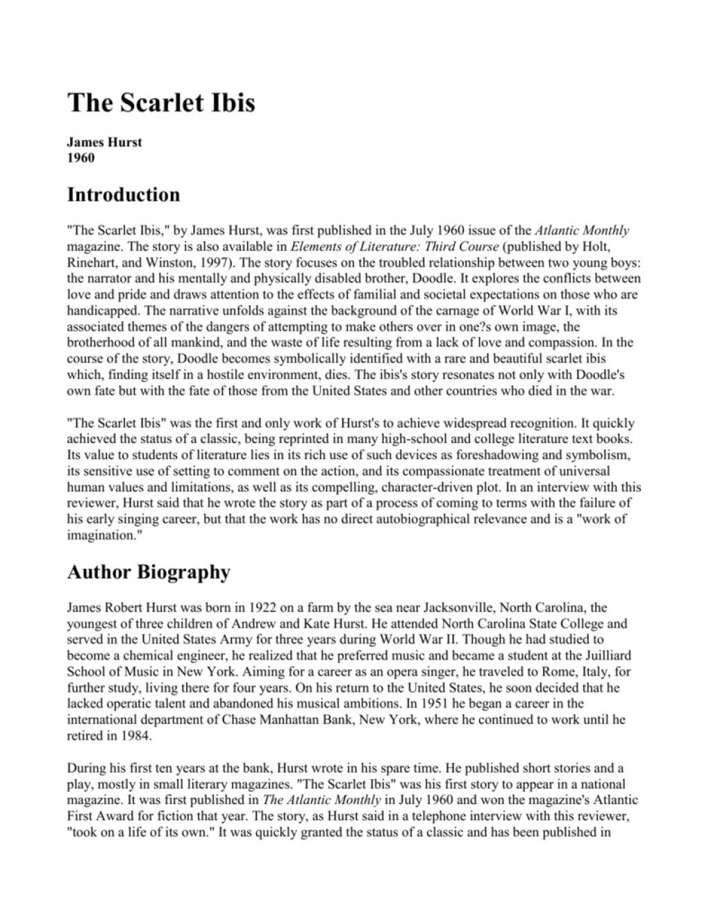 001 The Scarlet Ibis Essay 009067886 1 Best Thesis Questions Discussion Large