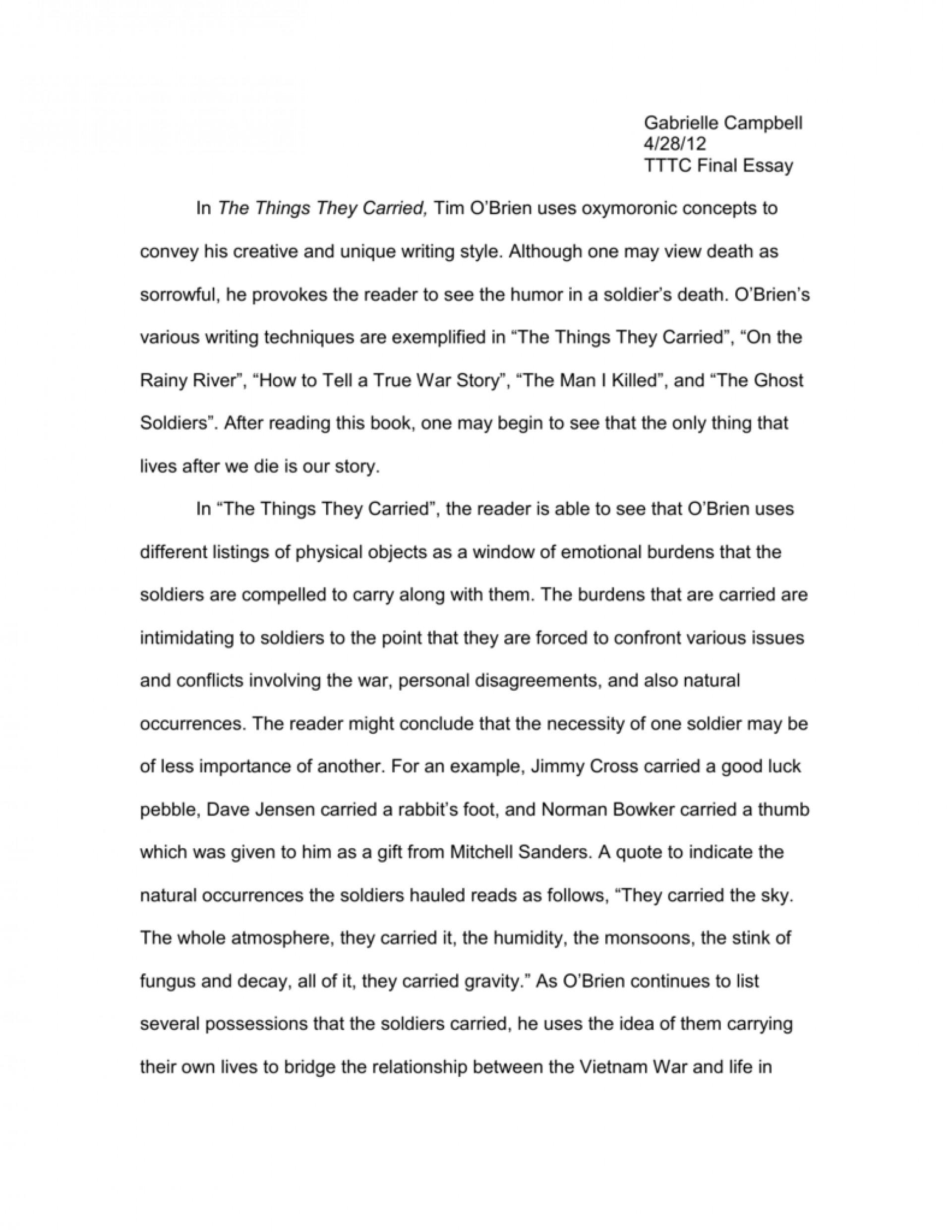 001 The Things They Carried Essay Example 008028277 1 Incredible Introduction Questions Prompts 1920