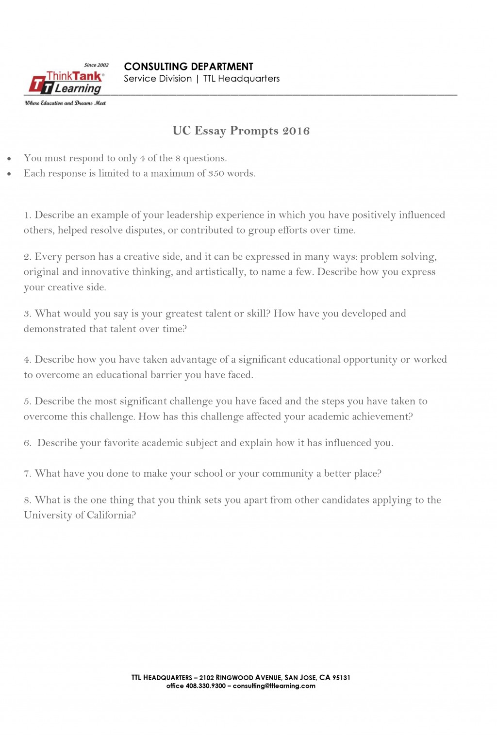 001 Think Tank Essay Uc Prompts 2016 2 Top Large