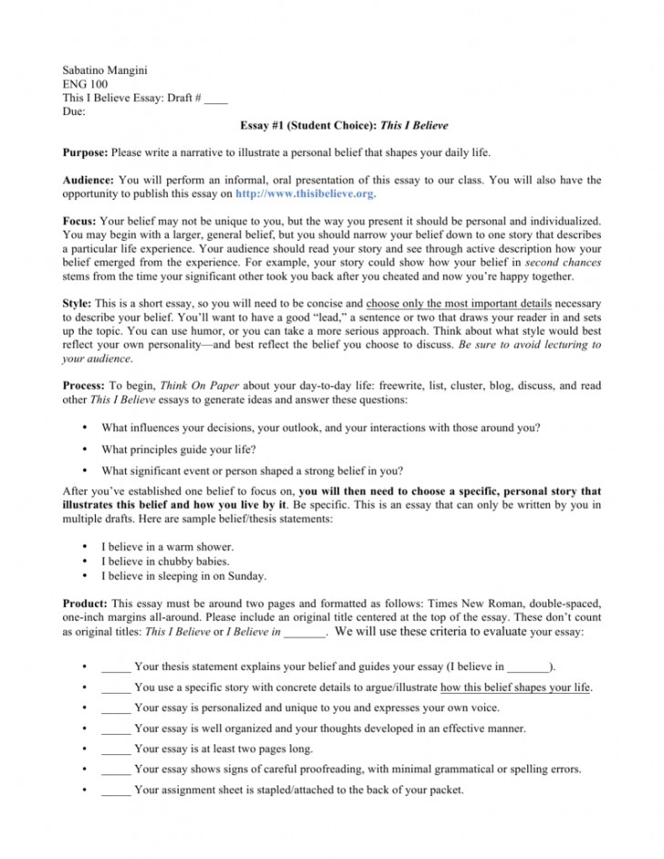 001 This I Believe Essay Example 008807227 1 Singular Rubric Essays Npr Format 728