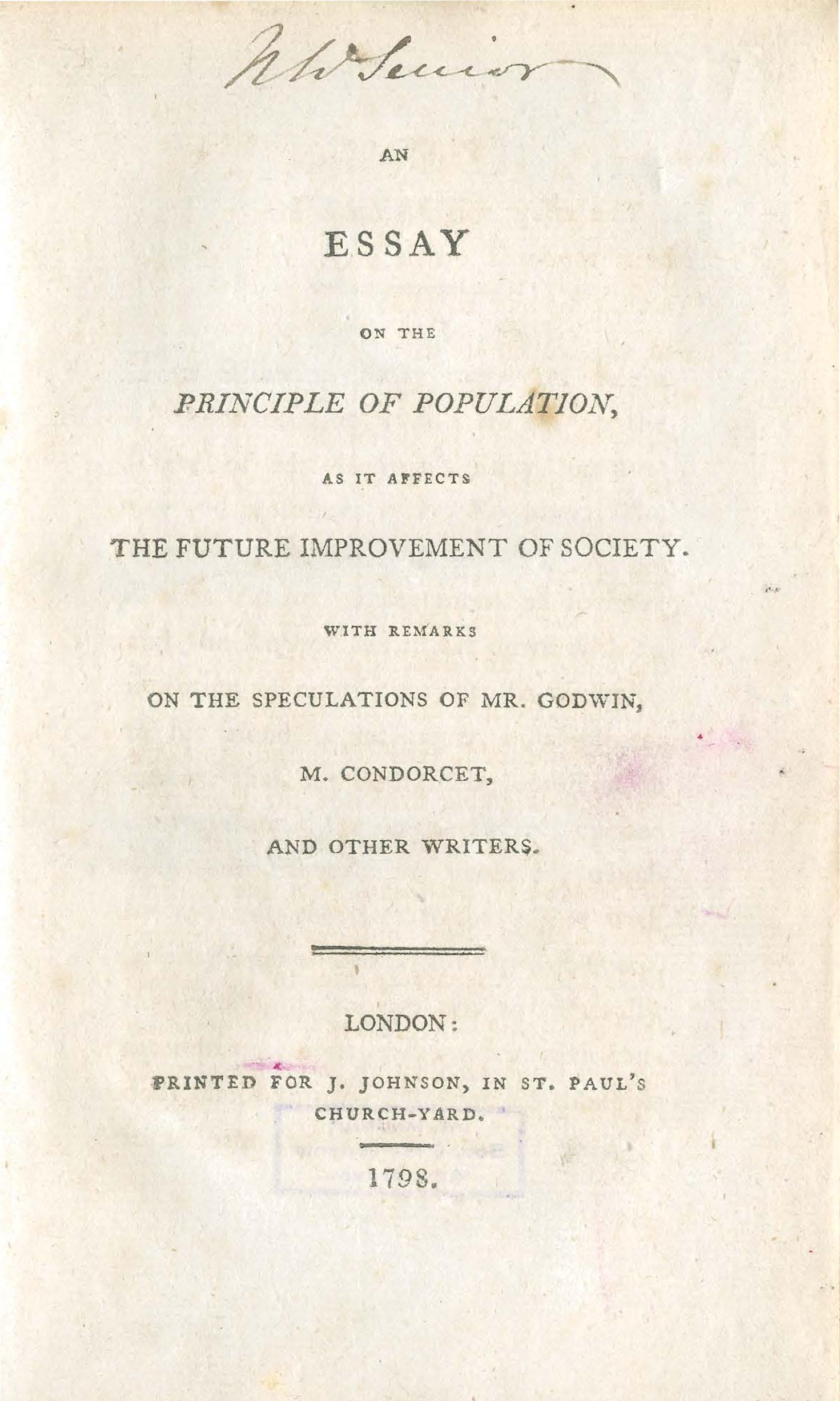 001 Thomas Malthus Essay On The Principle Of Population Stupendous After Reading Malthus's Principles Darwin Got Idea That Ap Euro Full