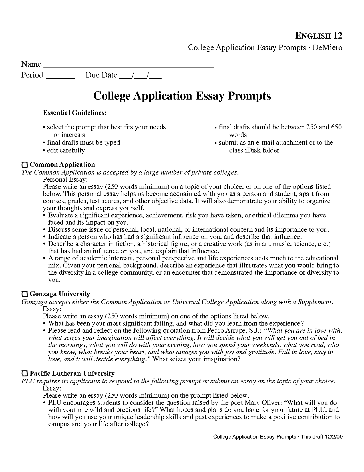 incredible college admission essay prompts