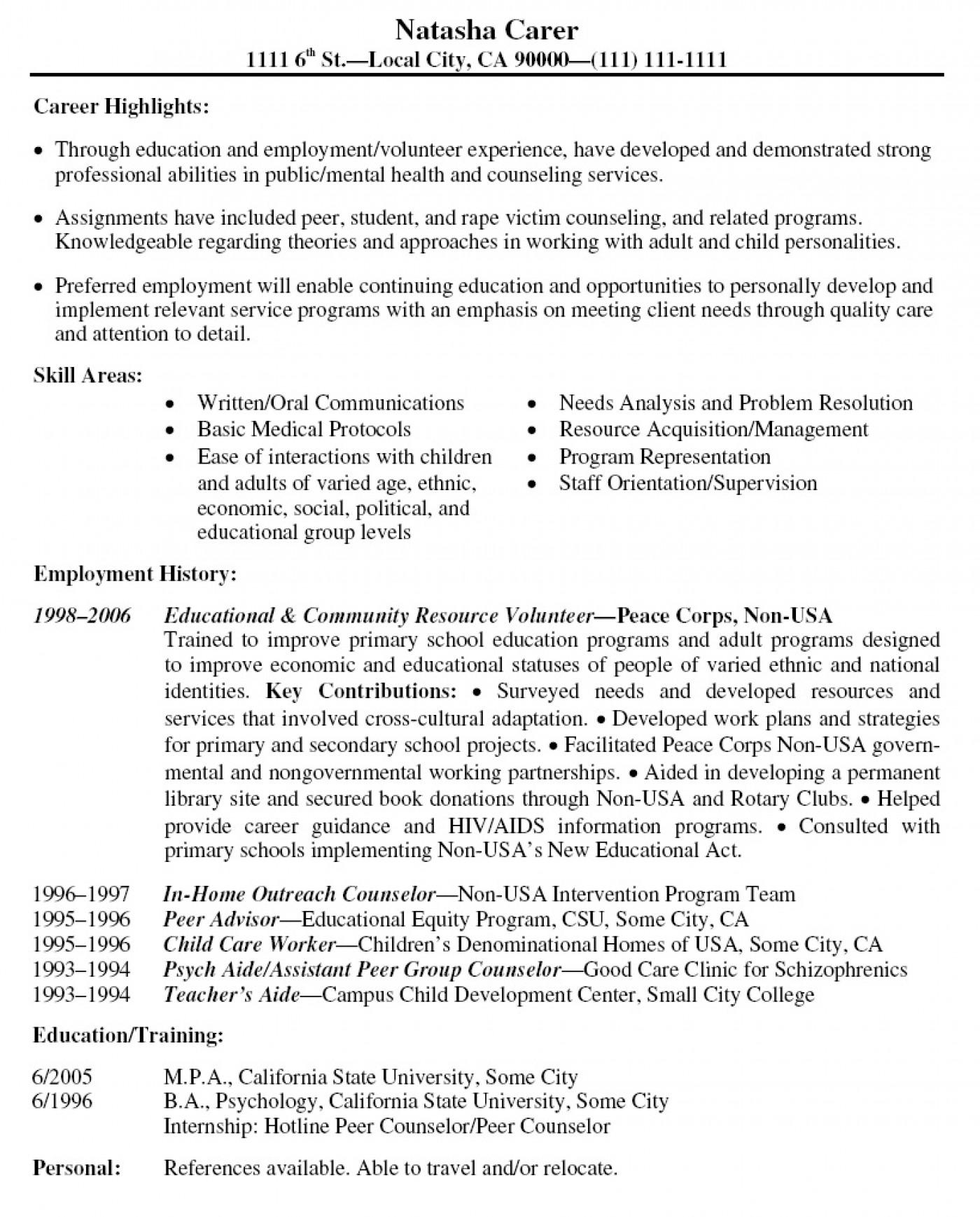 001 Volunteer Experience Essay Resume Example Latest Format L