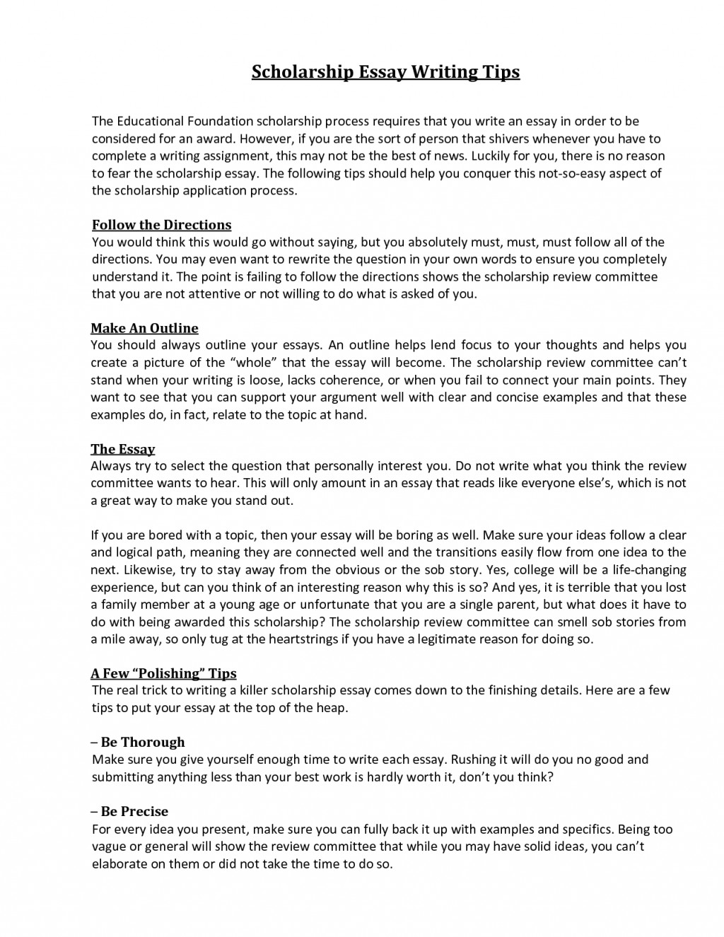 001 What To Write For Scholarship Essay Example Awesome A How That Stands Out About Your Career Goals Financial Need Large