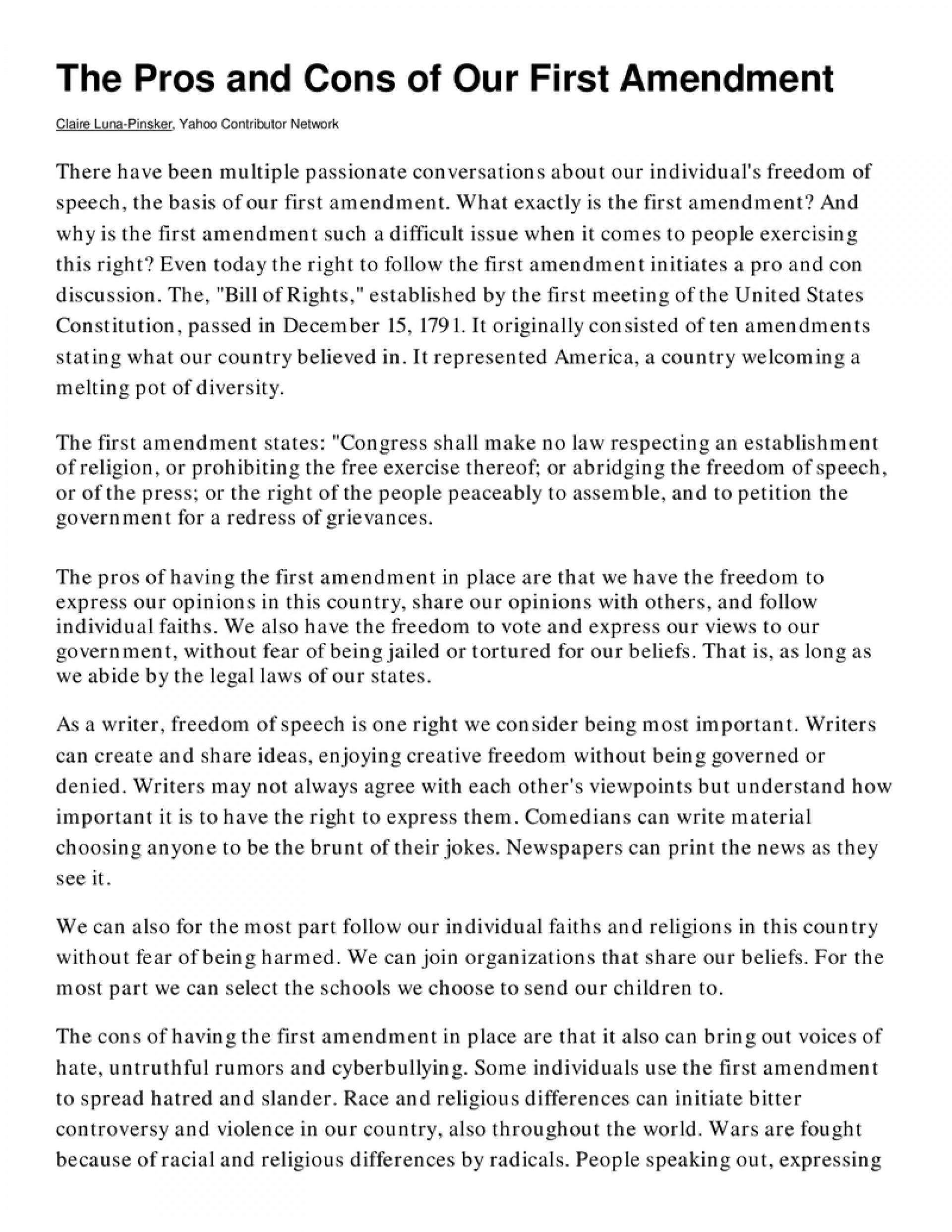 The First Amendment - Essay