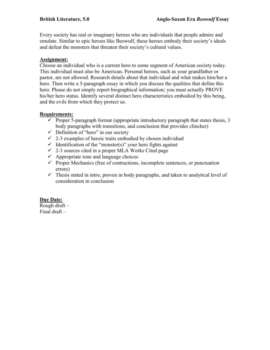 002 008014350 1 Essay Example Beowulf Epic Amazing Hero Assignment 5 Paragraph Characteristics