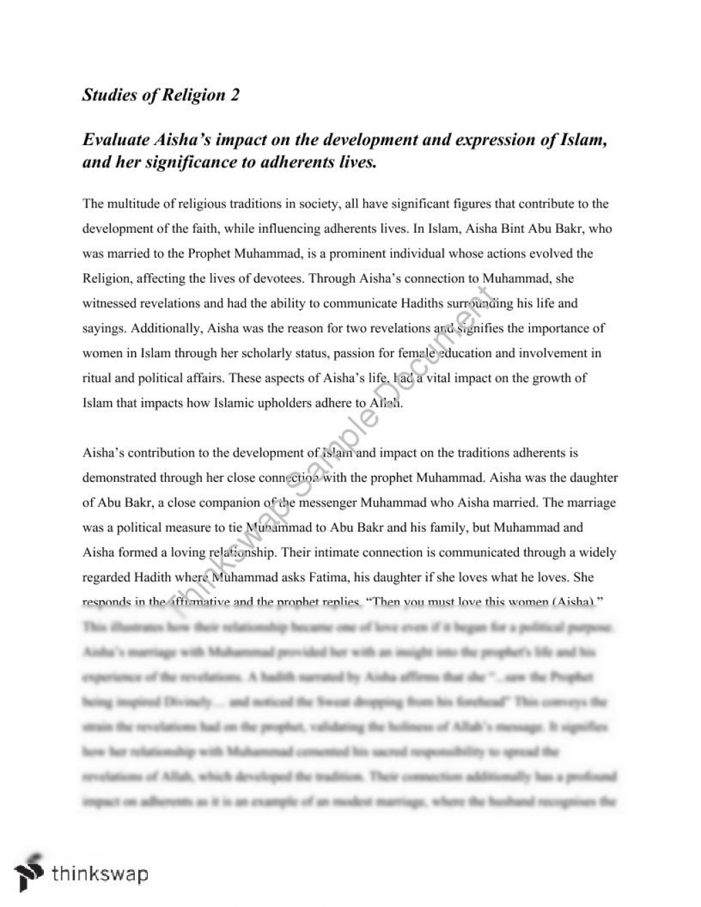 002 71449 Aisha Fadded41 Religion Essay Formidable Sociology Of Questions Paper Ideas Introduction Large