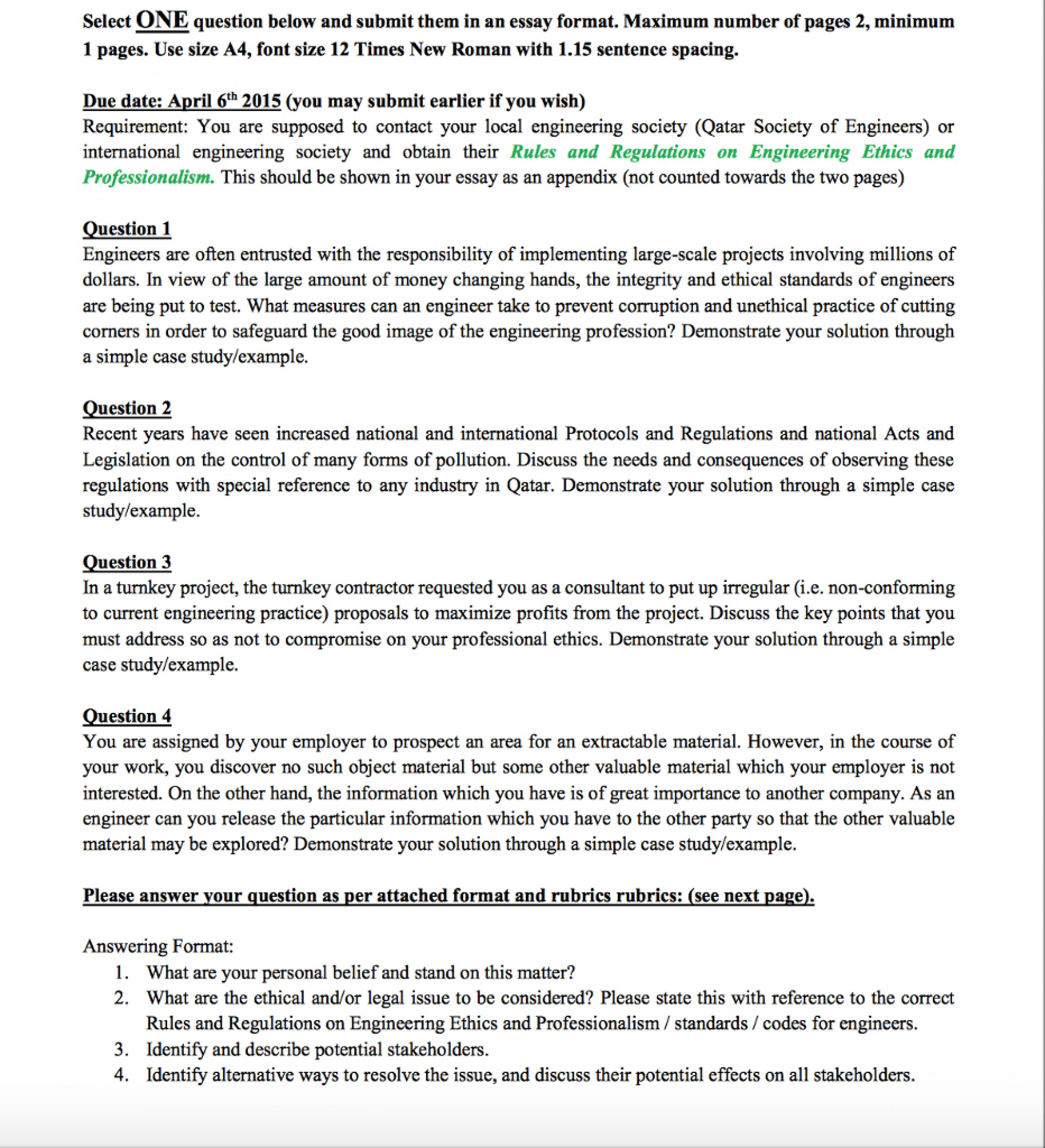 answering multiple questions in essay format examples