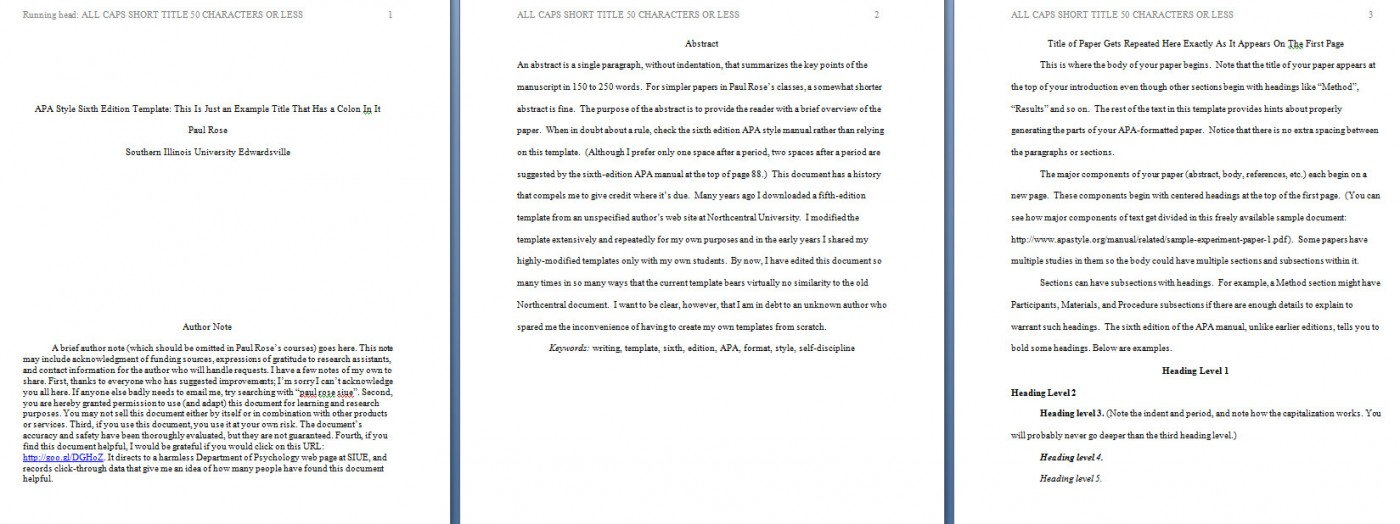 002 Apa Format Essay Template Preview Stupendous Short Sample Example Title Page 6th Edition 1400