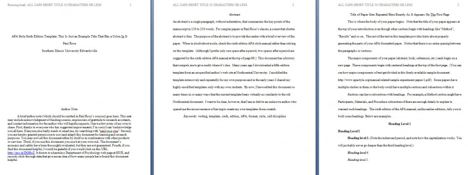 002 Apa Format Essay Template Preview Stupendous Short Sample Example Title Page 6th Edition 960